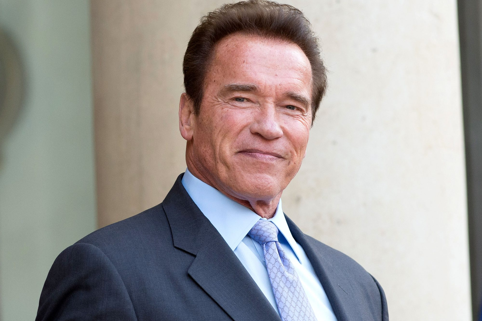 French President Francois Hollande Receives Arnold Schwarzenegger At Elysee Palace  In Paris