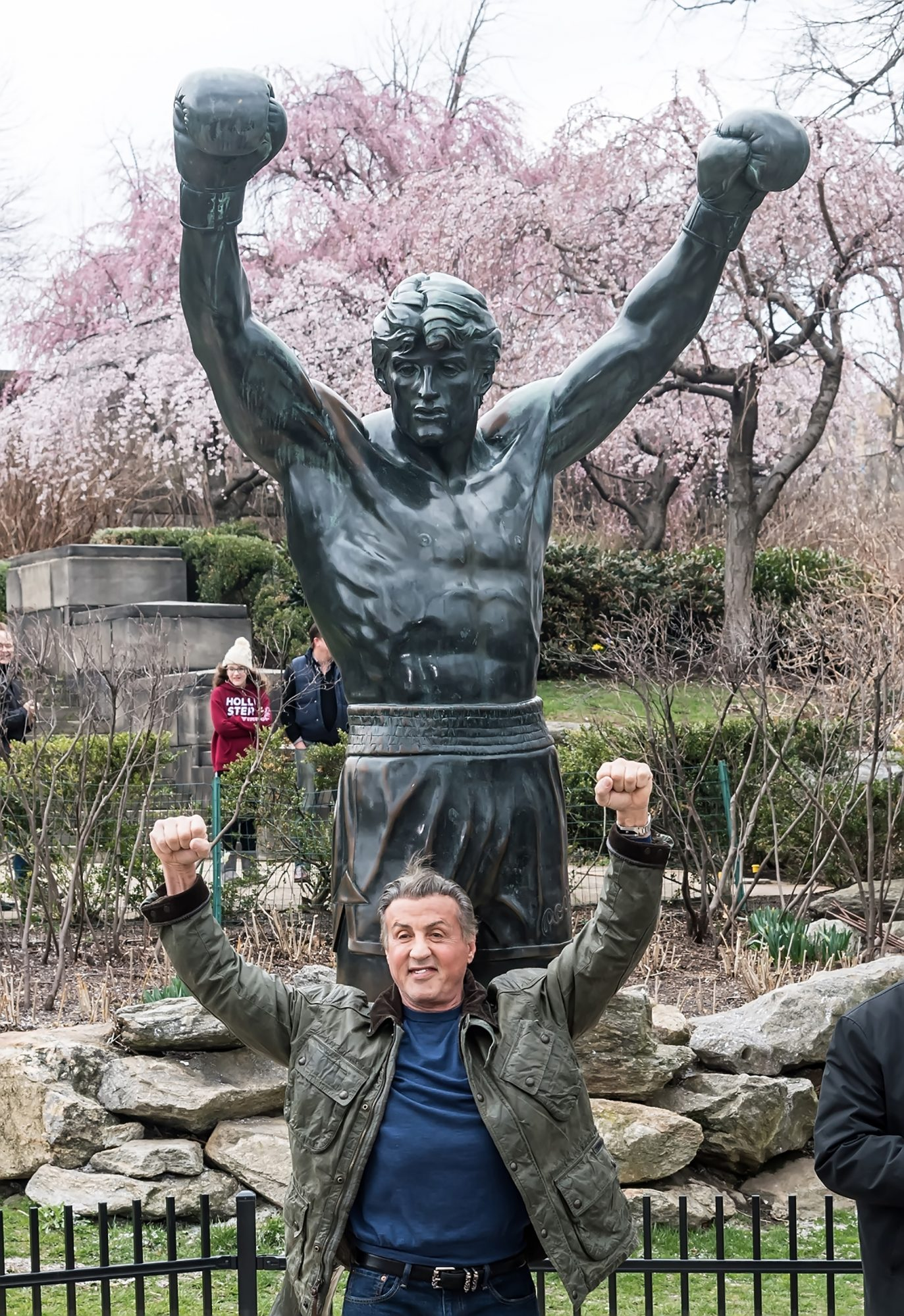 Sylvester Stallone Visits Rocky Statue in Philadelphia