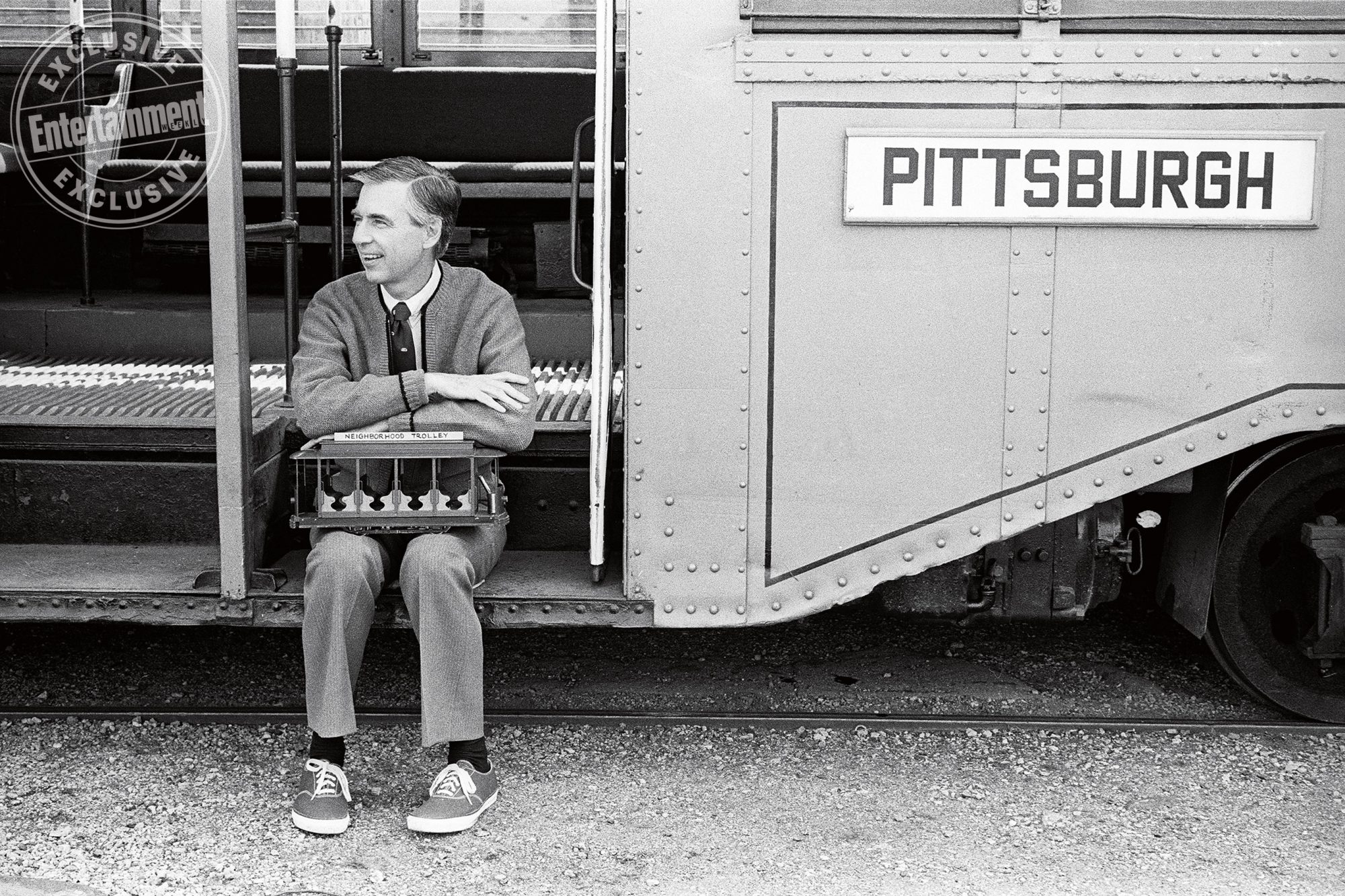 Fred Rogers holds Neighborhood Trolley on Pittsburgh trolley ste