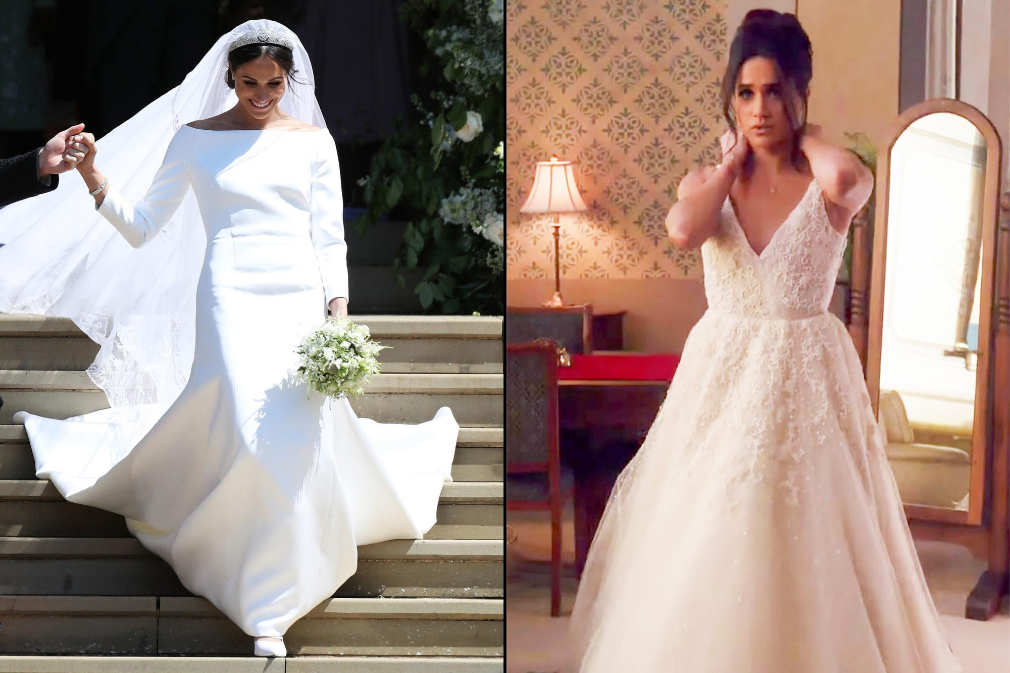 how meghan markle s suits wedding compared to her royal wedding ew com how meghan markle s suits wedding