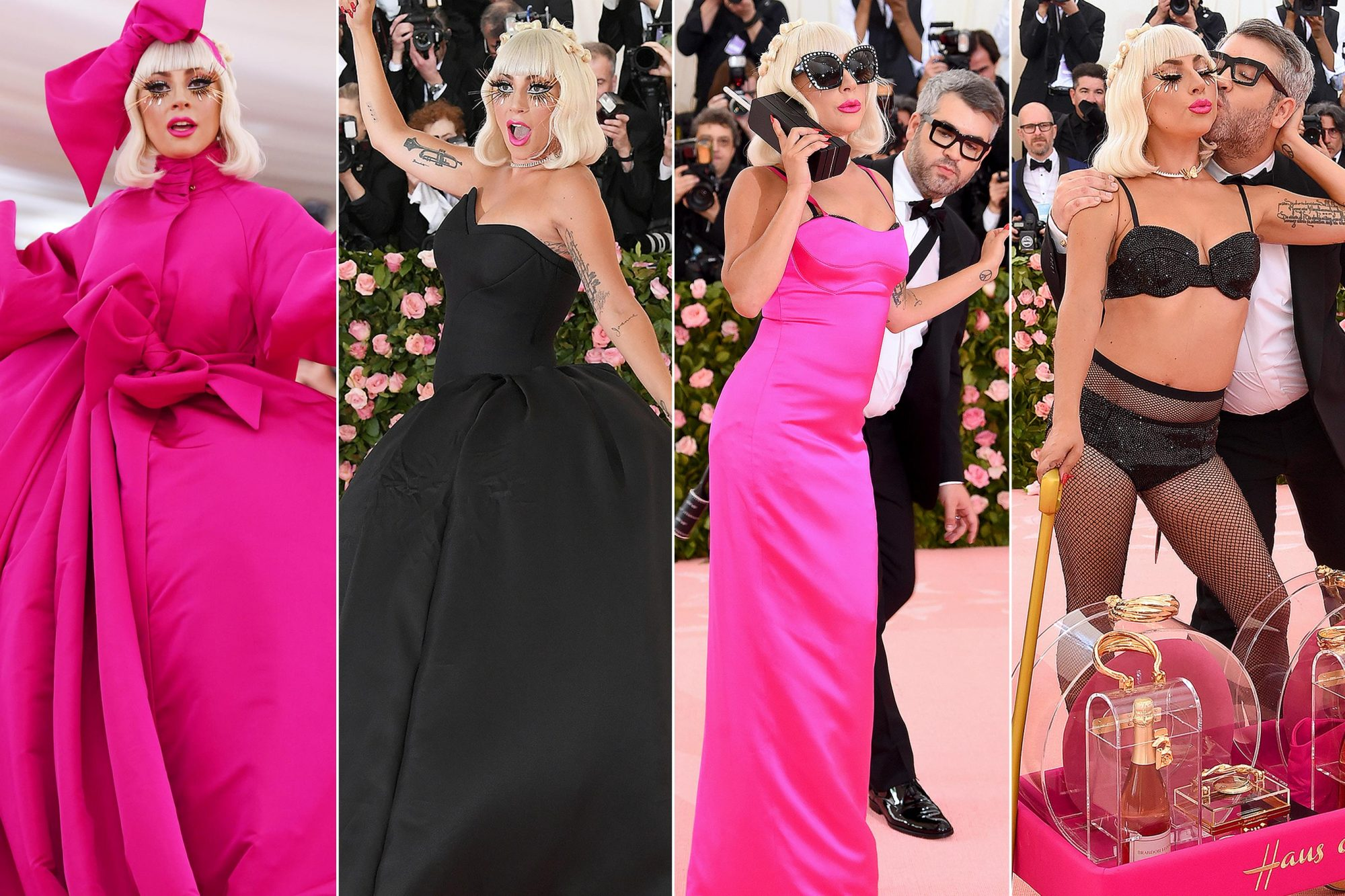 NEW YORK, NEW YORK - MAY 06: Lady Gaga attends The 2019 Met Gala Celebrating Camp: Notes on Fashion at Metropolitan Museum of Art on May 06, 2019 in New York City. (4) Credit L-R: Dimitrios Kambouris/Getty Images; Neilson Barnard/Getty Images; Jamie McCarthy/Getty Images (2)