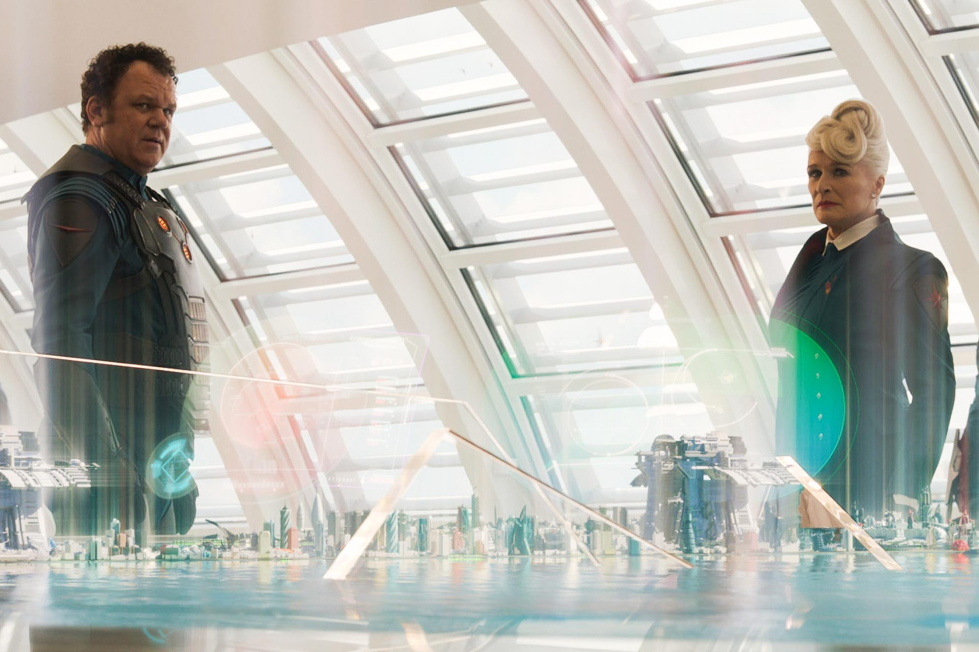 GUARDIANS OF THE GALAXY, John C. Reilly (left), Glenn Close (white hair), 2014. ©Walt Disney