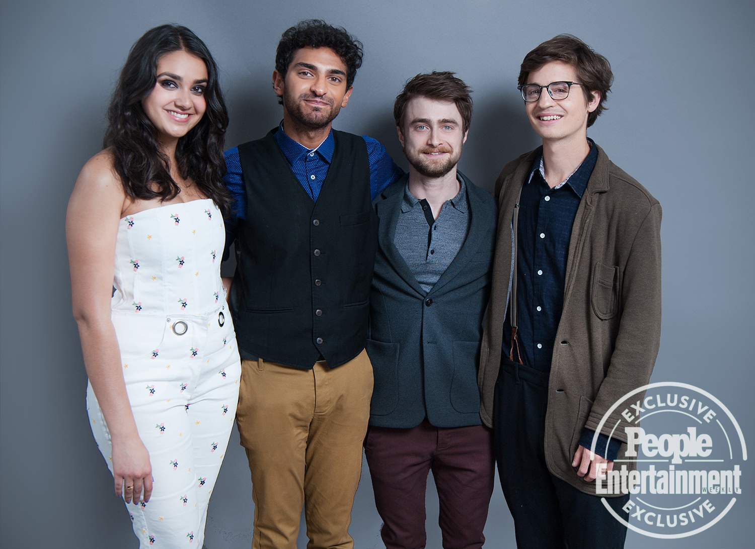 Geraldine Viswanathan, Karan Soni, Daniel Radcliffe, and Simon Rich of Miracle Workers
