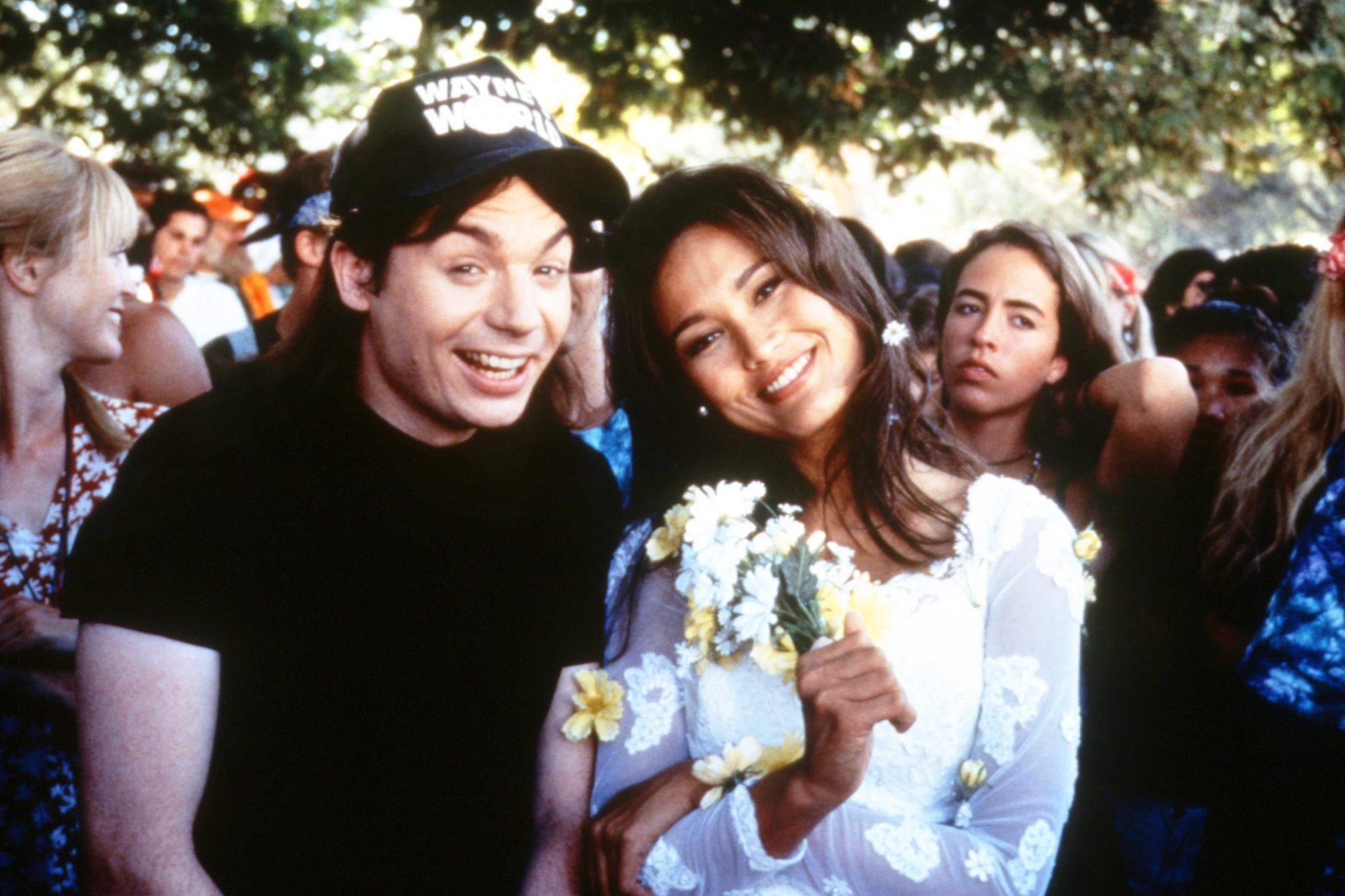 WAYNE'S WORLD 2, from left: Mike Myers, Tia Carrere, 1993, © Paramount/courtesy Everett Collection