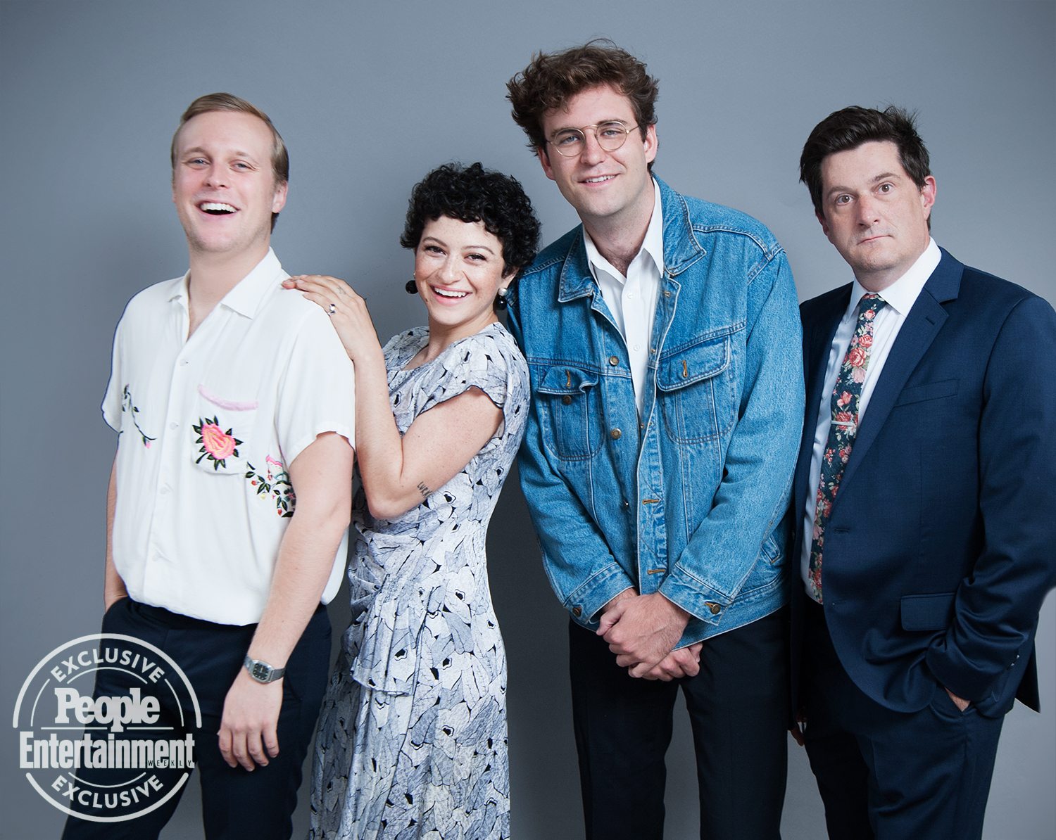 John Early, Alia Shawkat, John Reynolds, and Michael Showalter of Search Party