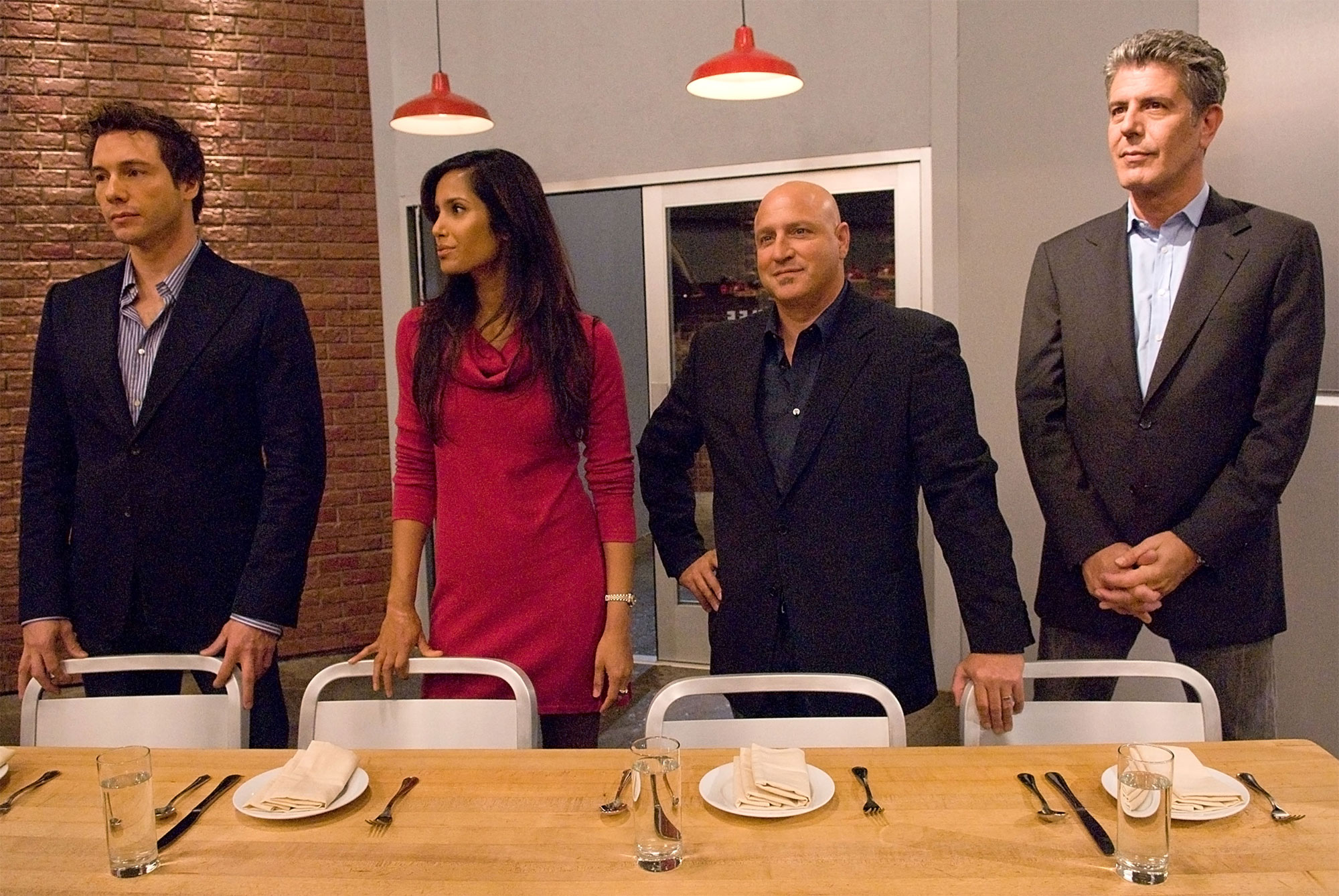 TOP CHEF, Chef Rocco DiSpirito, Host Padma Lakshmi, Host Tom Colicchio, Chef Anthony Bourdain, (Seas