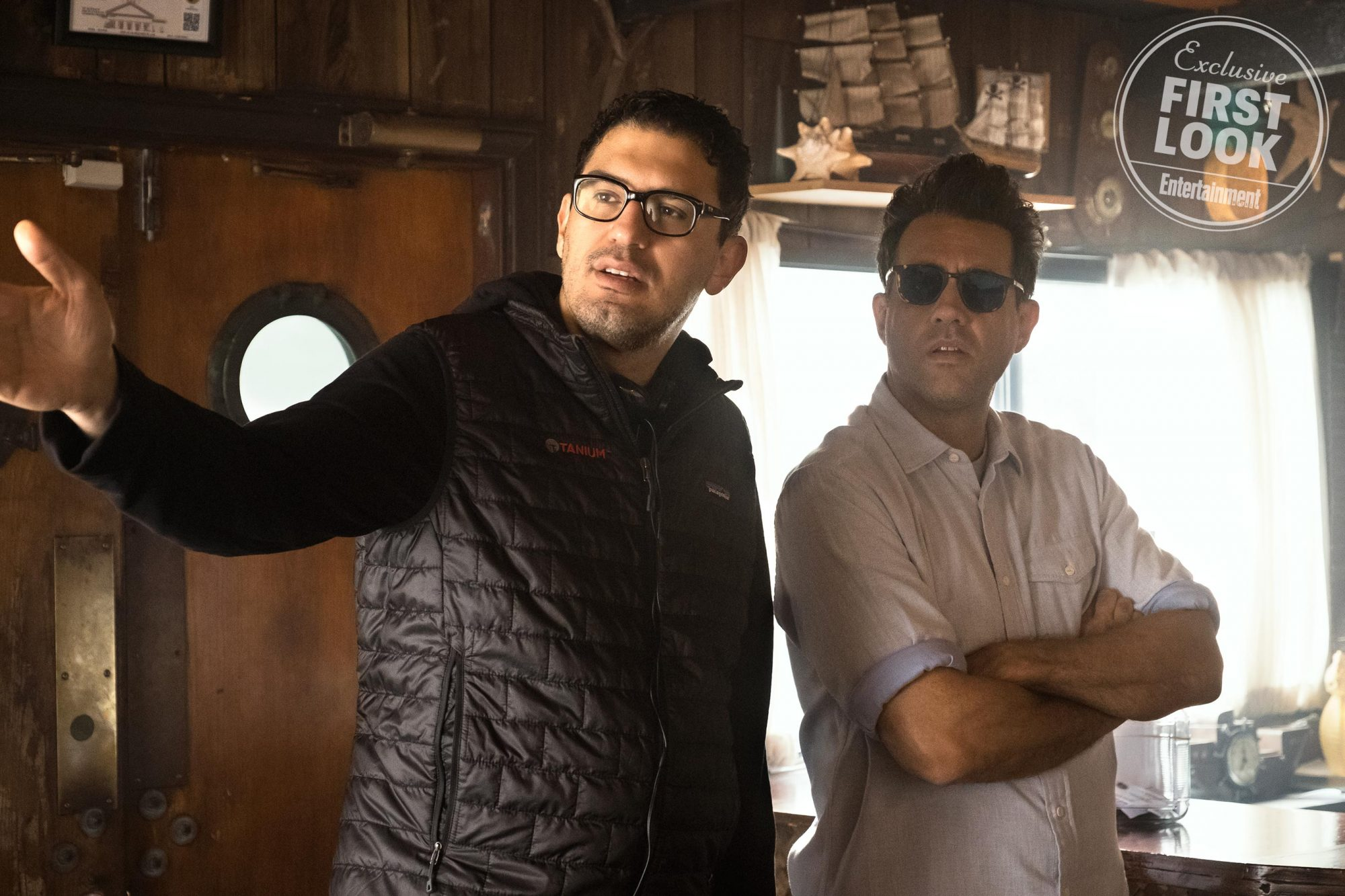 HomecomingBTSPictured: creator/director, Sam Esmail and Bobby Cannavale