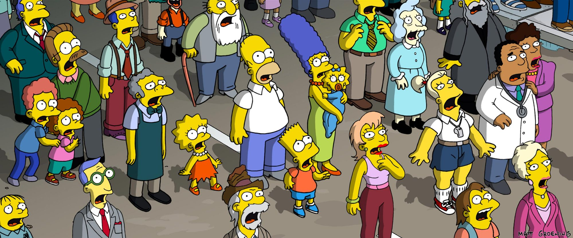THE SIMPSONS MOVIE, Ralph Wiggum (lower left), left, second row: Rod Flanders, Todd Flanders, Ned Fl