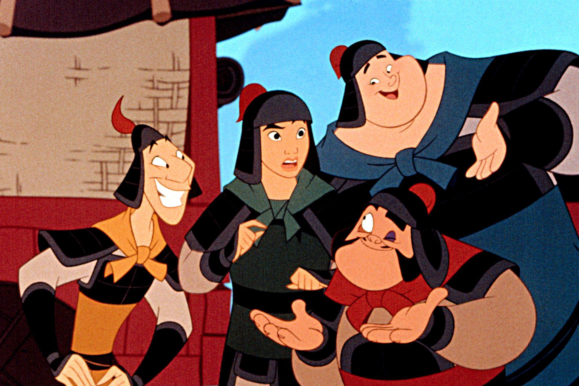 MULAN, Mulan (center), 1998. c) Walt Disney Pictures/ Courtesy: Everett Collection.