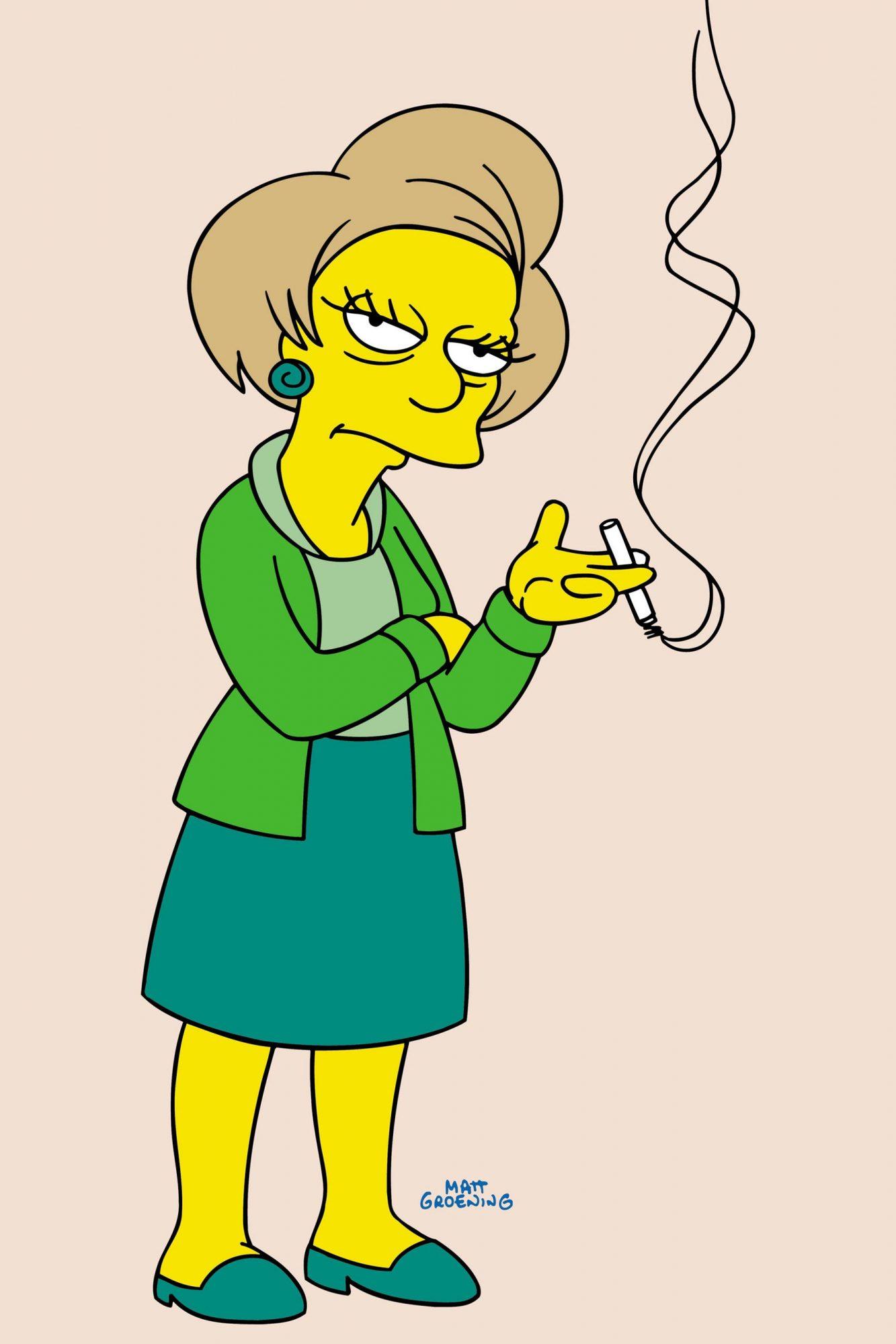 Mrs. Krabappel with smoke