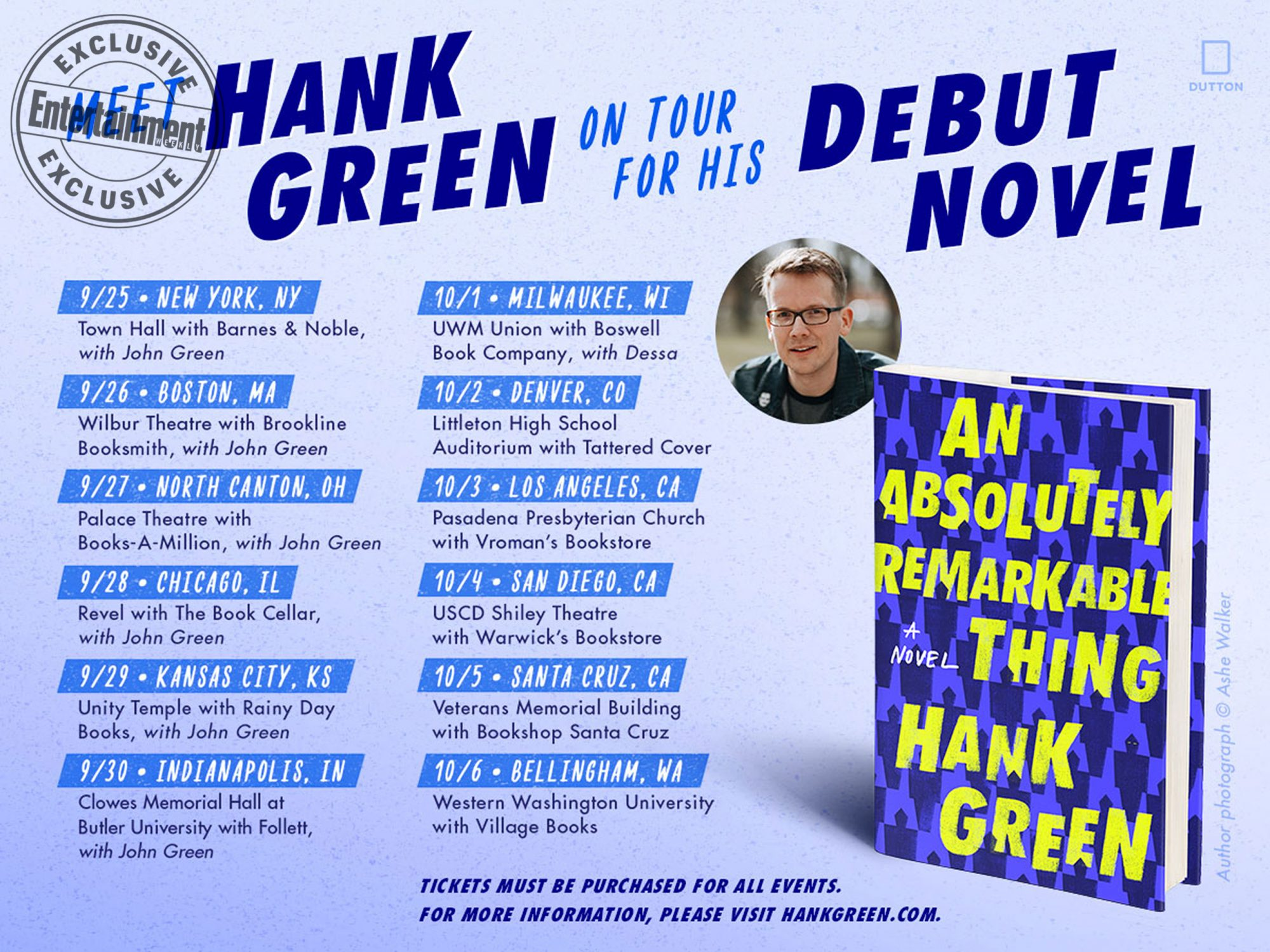 Hank Green An Absolutely Remarkable Thing book tour