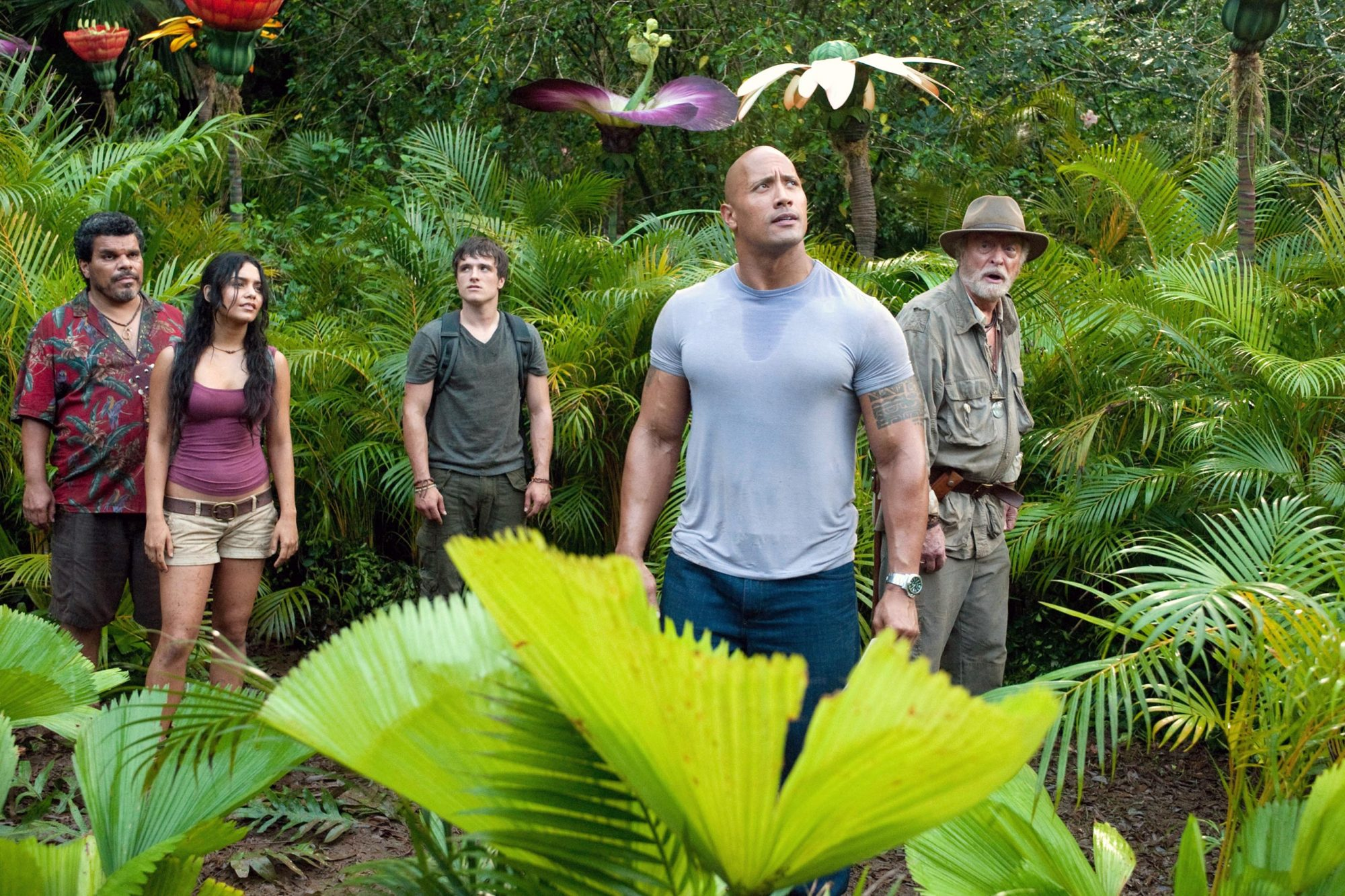 JOURNEY 2: THE MYSTERIOUS ISLAND, from left: Luis Guzman, Vanessa Hudgens, Josh Hutcherson, Dwayne J