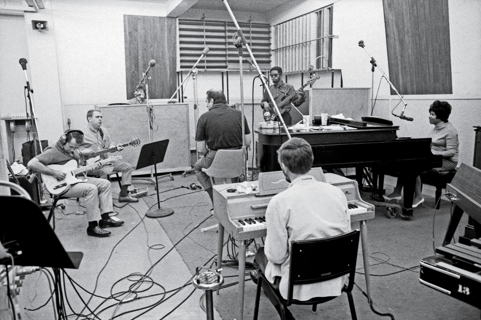 In the studio with Jerry Jemmott, Spooner Oldham, Tommy Cogbill, Jimmy Johnson, Roger Hawkins, and Arif Mardin in 1968