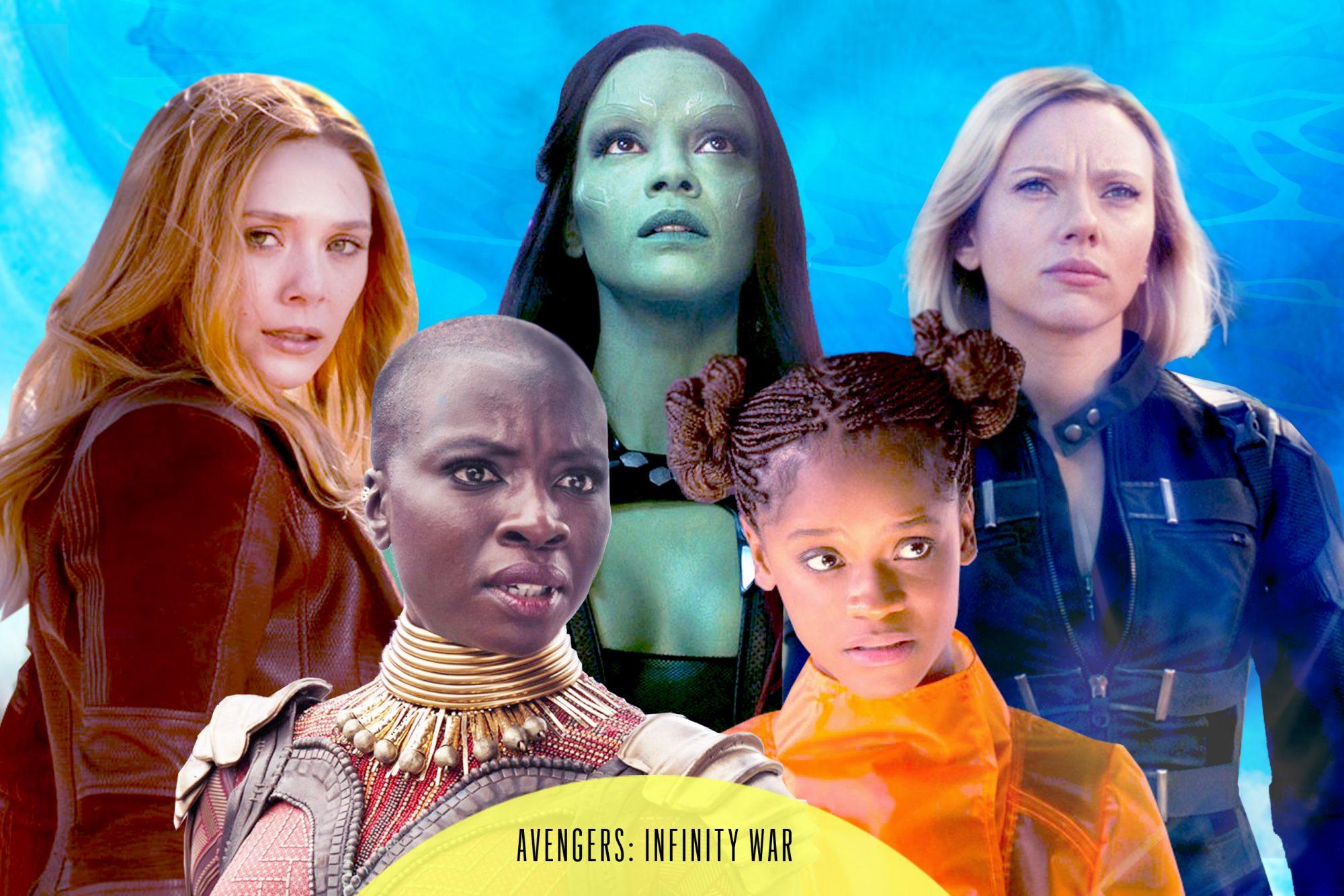 Scarlet Witch, Gamora, Black Widow, Shuri, and Okoye