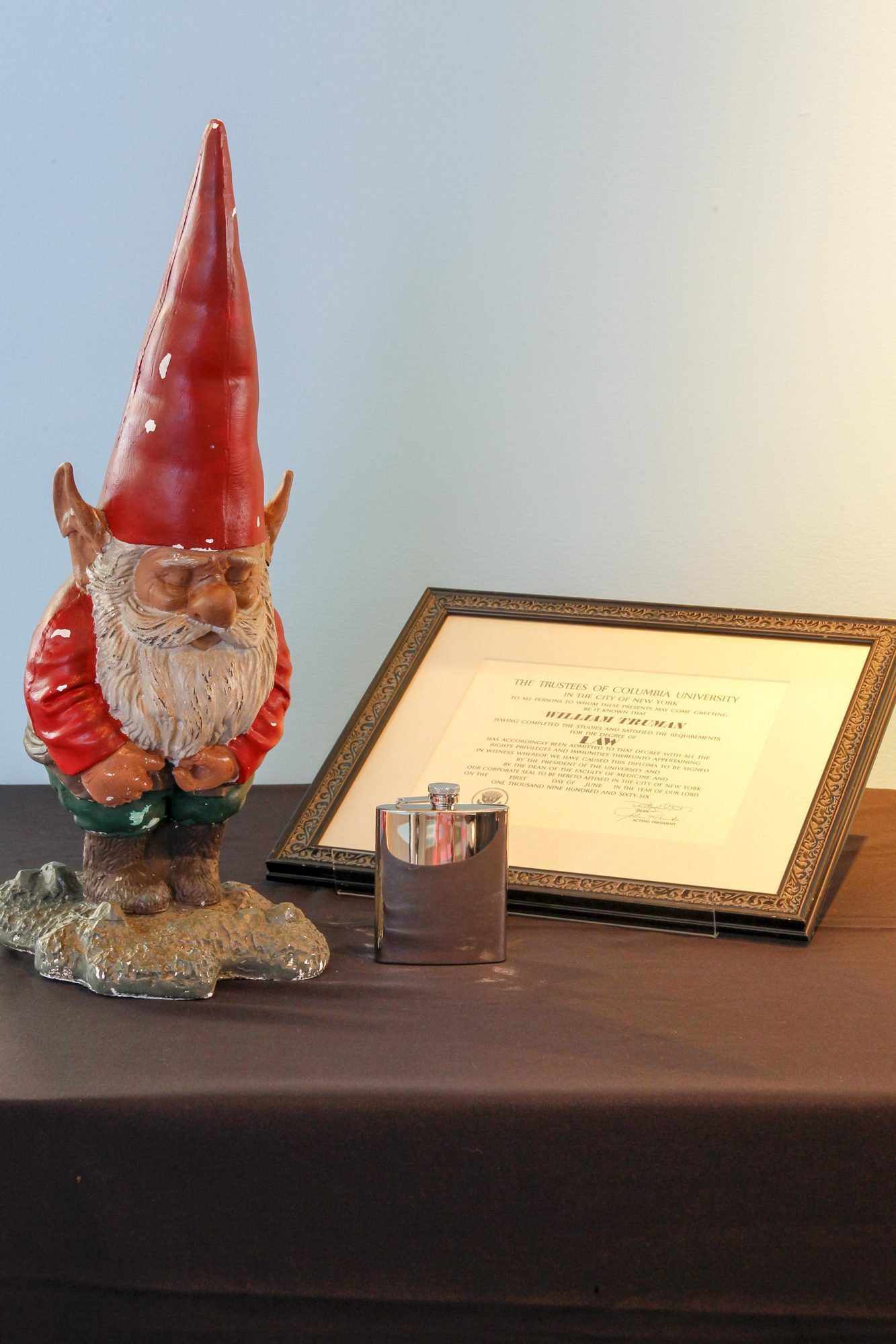 Karen's (Megan Mullally) flask, Will's (Eric McCormack) law degree, and garden gnome from Will & Grace