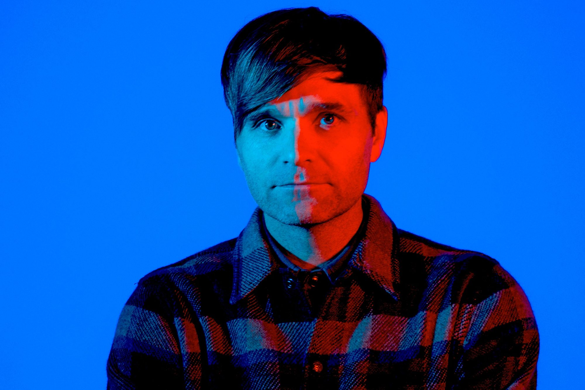 Ben Gibbard (center) from the band Death Cab For Cutie (2018)