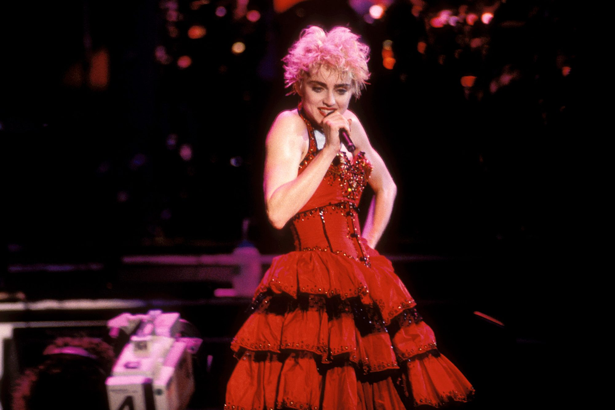 Madonna performing in her 1987 concert tour Madison Square Garden NYC