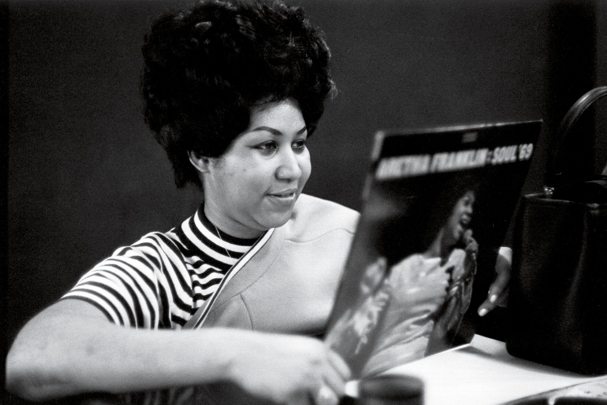 Holding a copy of her album Soul '69 in the Atlantic Records studios in New York in 1969