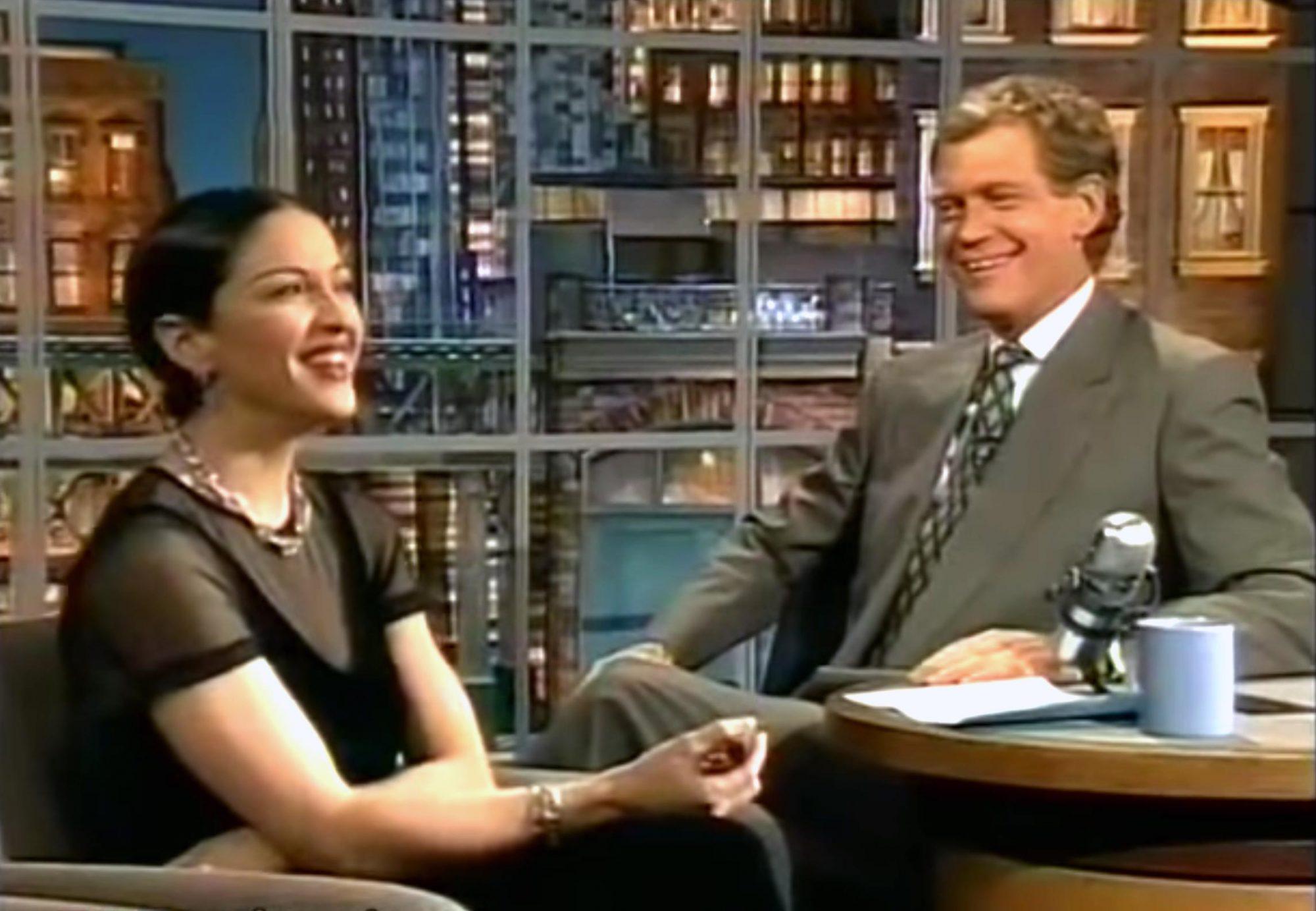 Madonna on Letterman 1994 (screen grab)
