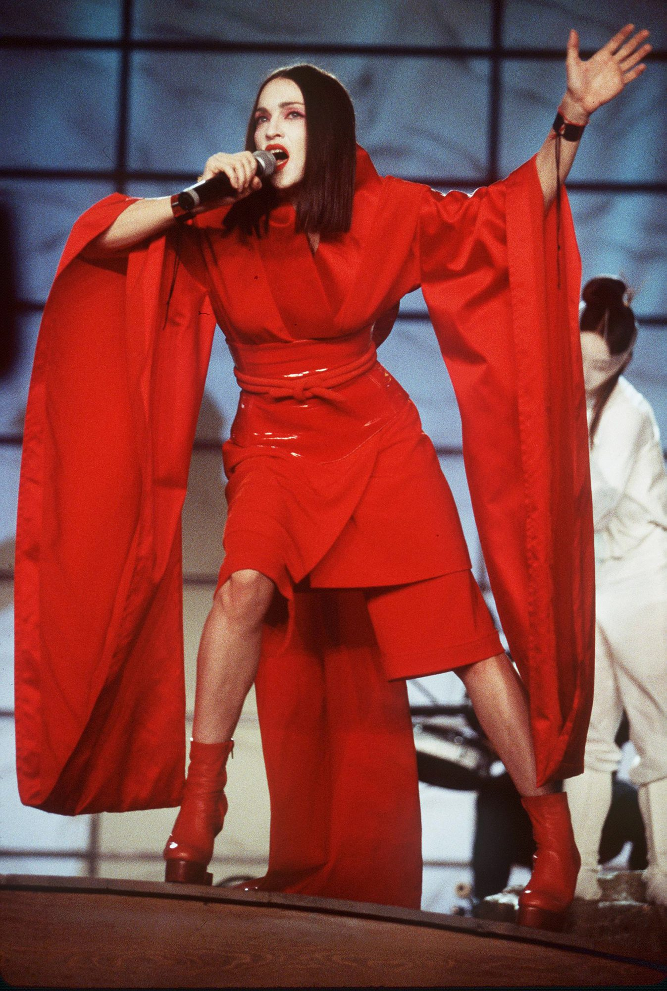 1999: At the Grammys in red kimono MadonnaCredit: Getty Images