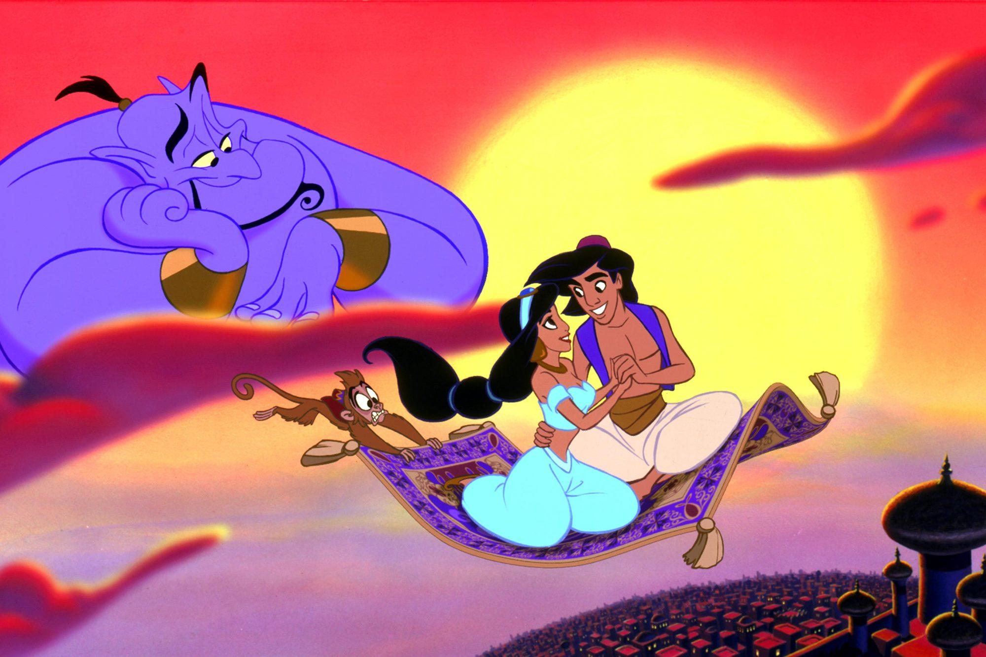 ALADDIN, Genie, Jasmine, Aladdin, 1992. (c) Buena Vista Pictures/ Courtesy: Everett Collection.