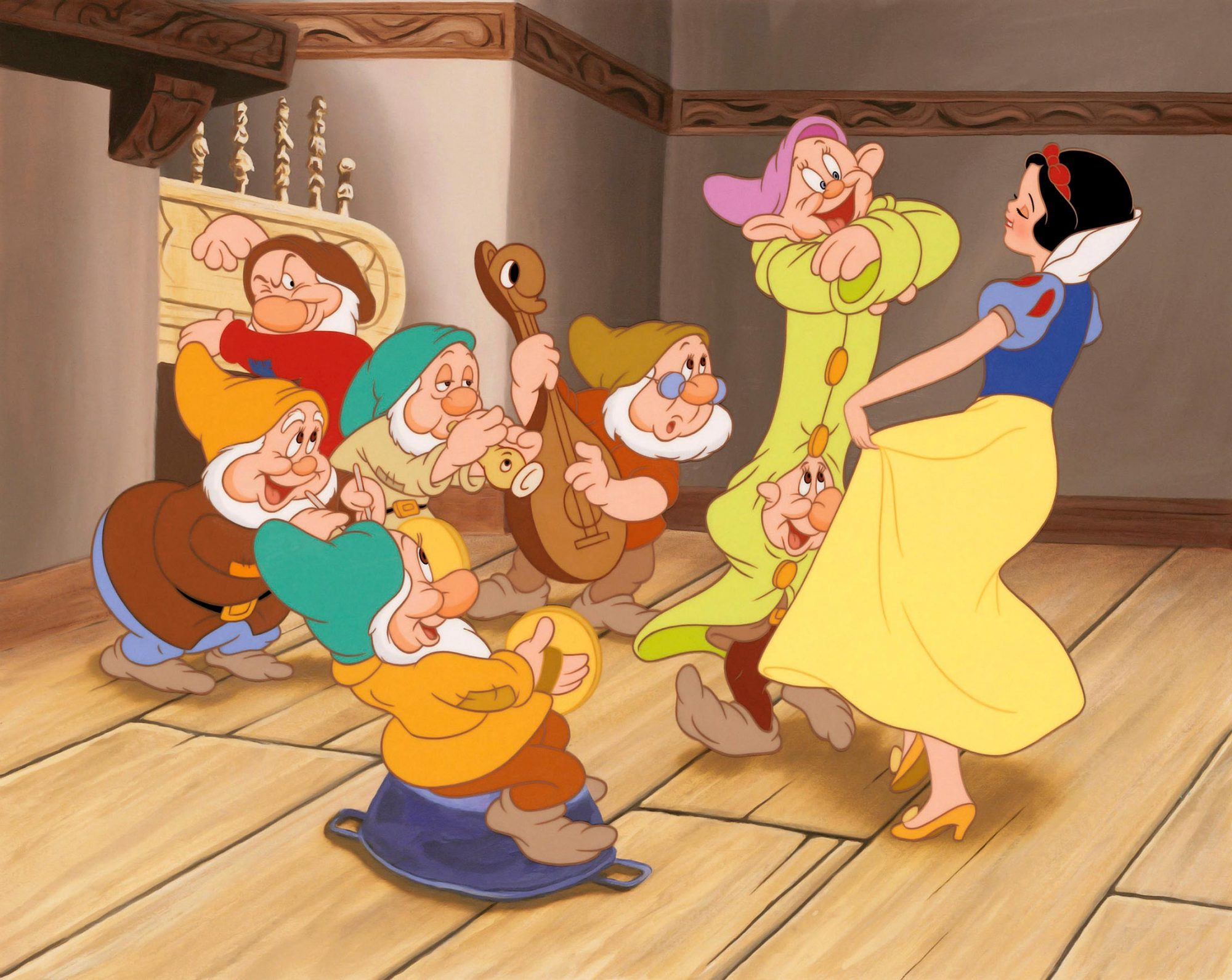 SNOW WHITE AND THE SEVEN DWARFS, Grumpy (seated), Sneezy (cymbals), Happy, Sleepy (horn), Doc (bass