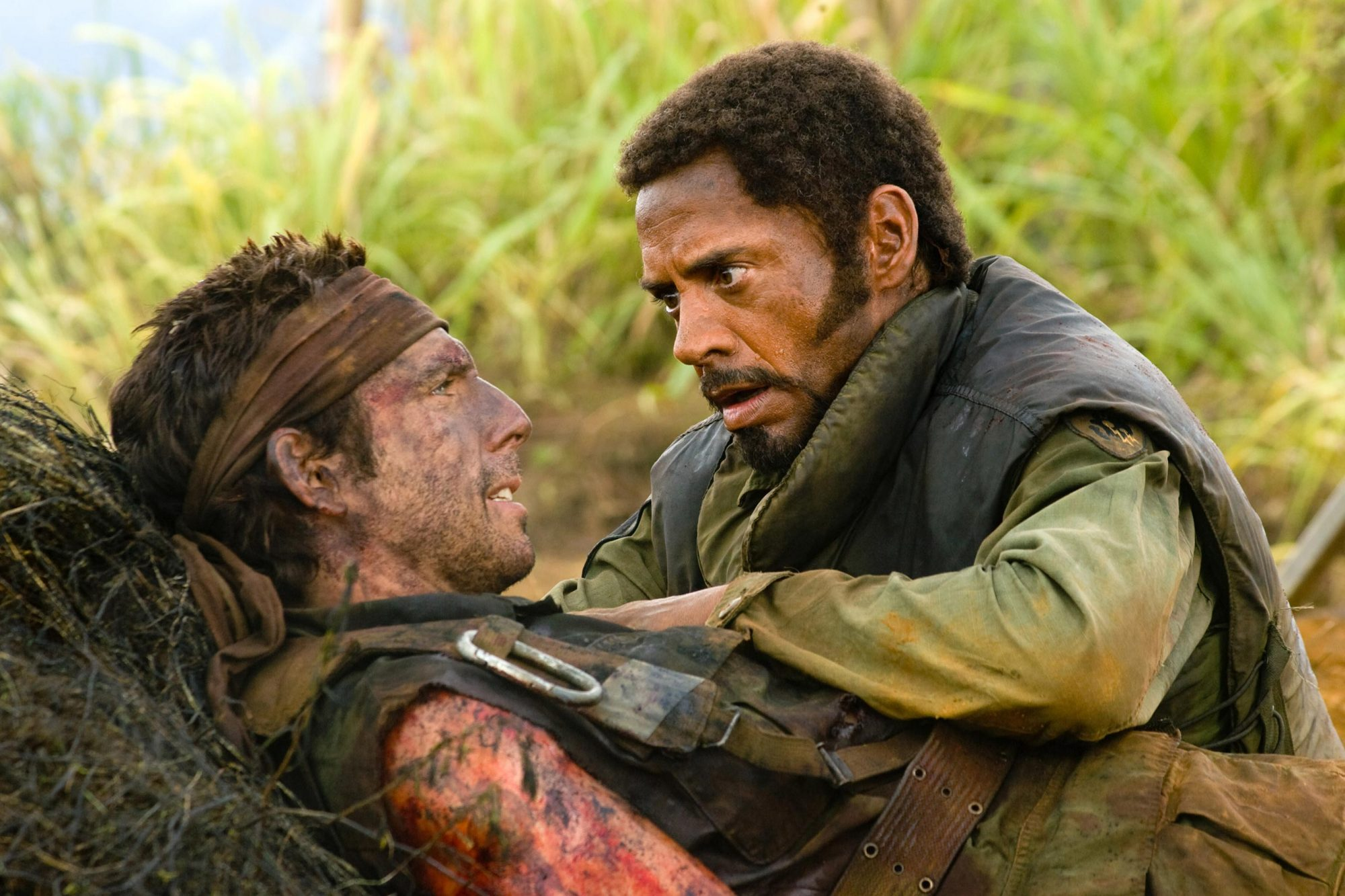 TROPIC THUNDER, from left: Ben Stiller, Robert Downey Jr., 2008. ©DreamWorks Distribution/Courtesy E
