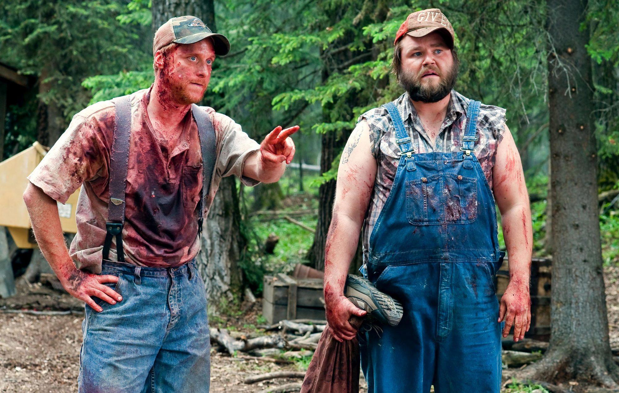 TUCKER AND DALE VS EVIL, from left: Alan Tudyk, Tyler Labine, 2009. ph: Dan Power/©Maple Pictures/Co
