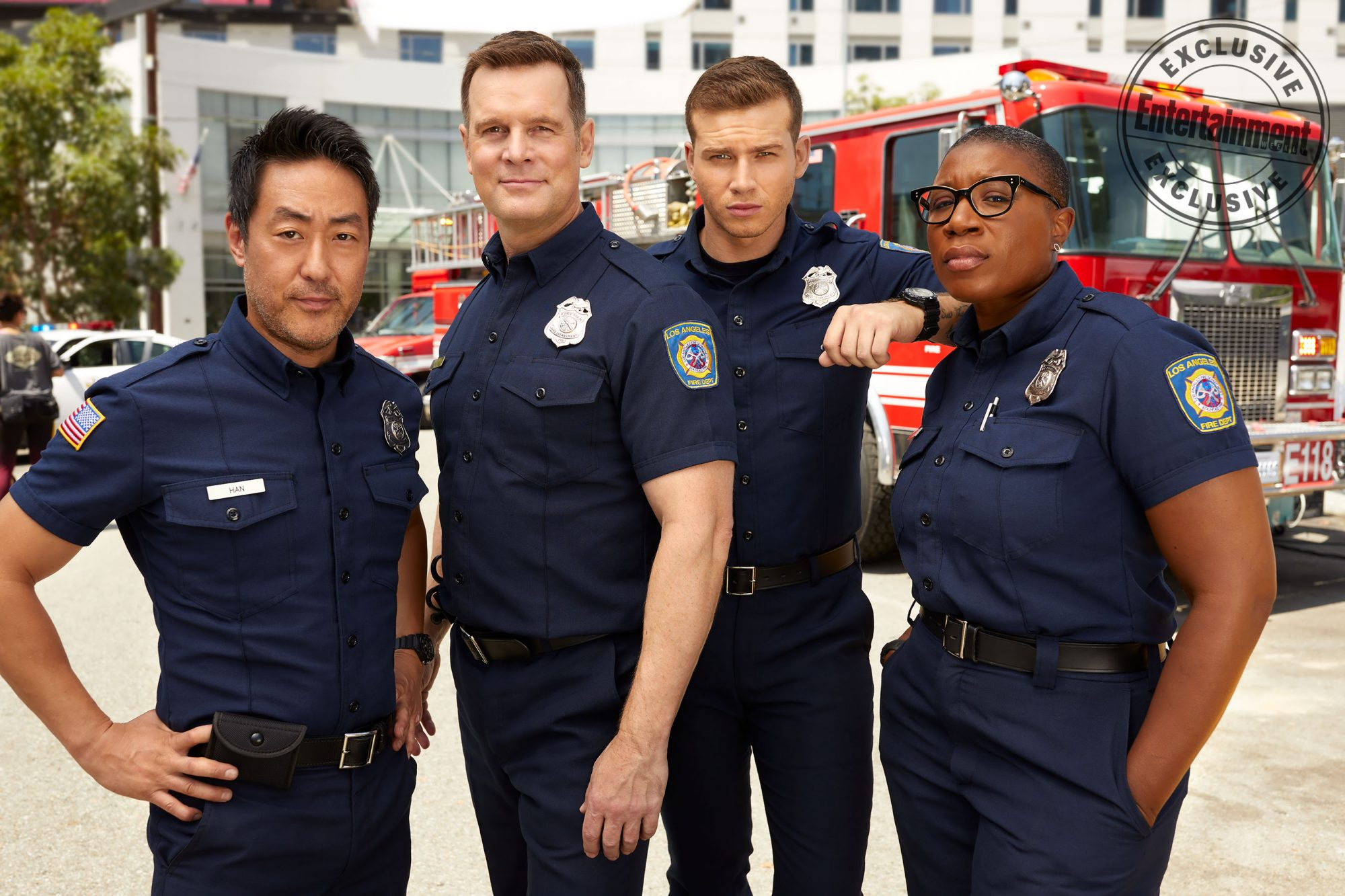 Kenneth Choi, Peter Krause, Oliver Stark, and Aisha Hinds (9-1-1)