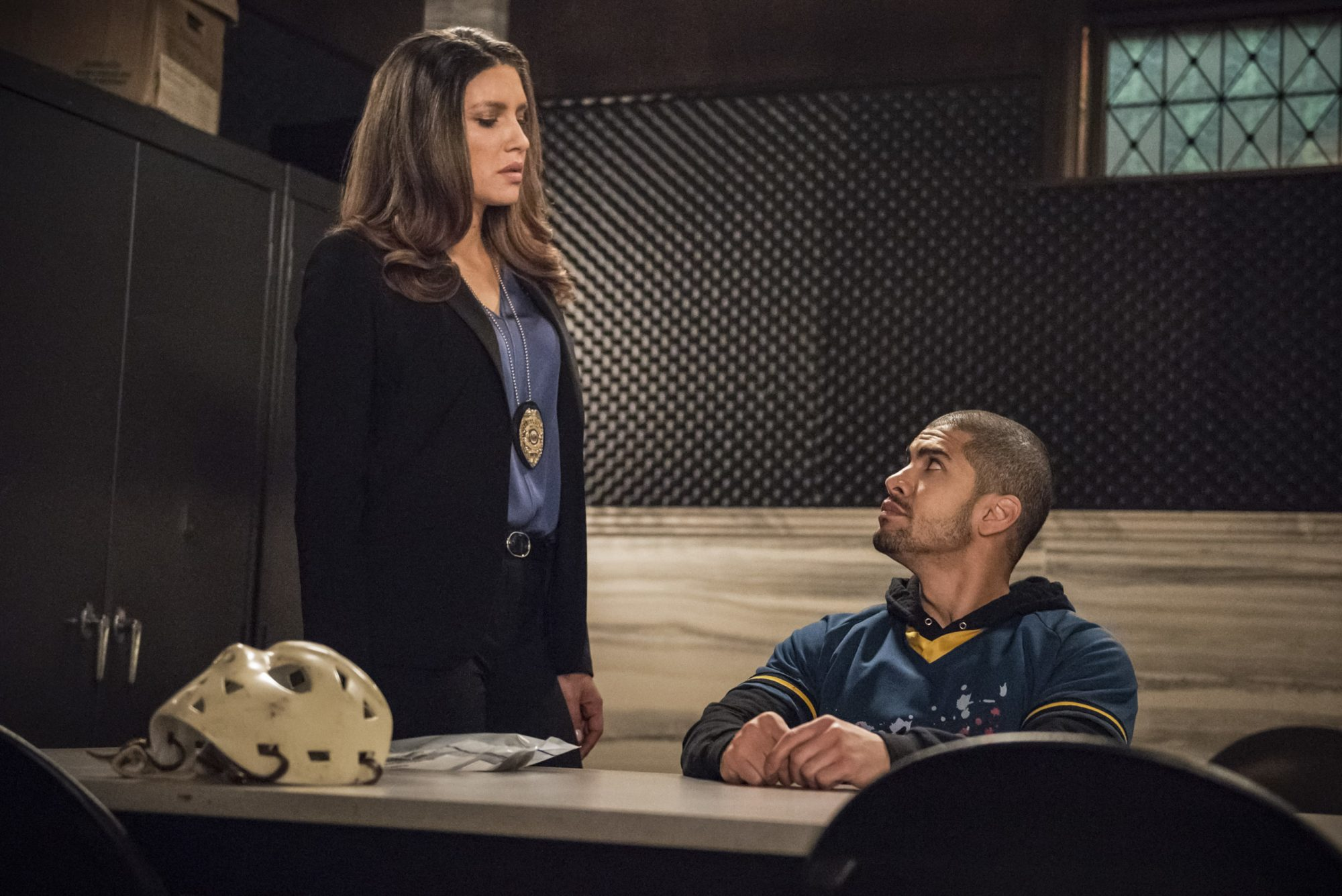 """Arrow -- """"Confessions"""" -- Image Number: AR720a_0170b.jpg -- Pictured (L-R): Juliana Harkavy as Dinah Drake/Black Canary and Rick Gonzalez as Rene Ramirez/Wild Dog -- Photo: Dean Buscher/The CW -- © 2019 The CW Network, LLC. All Rights Reserved."""