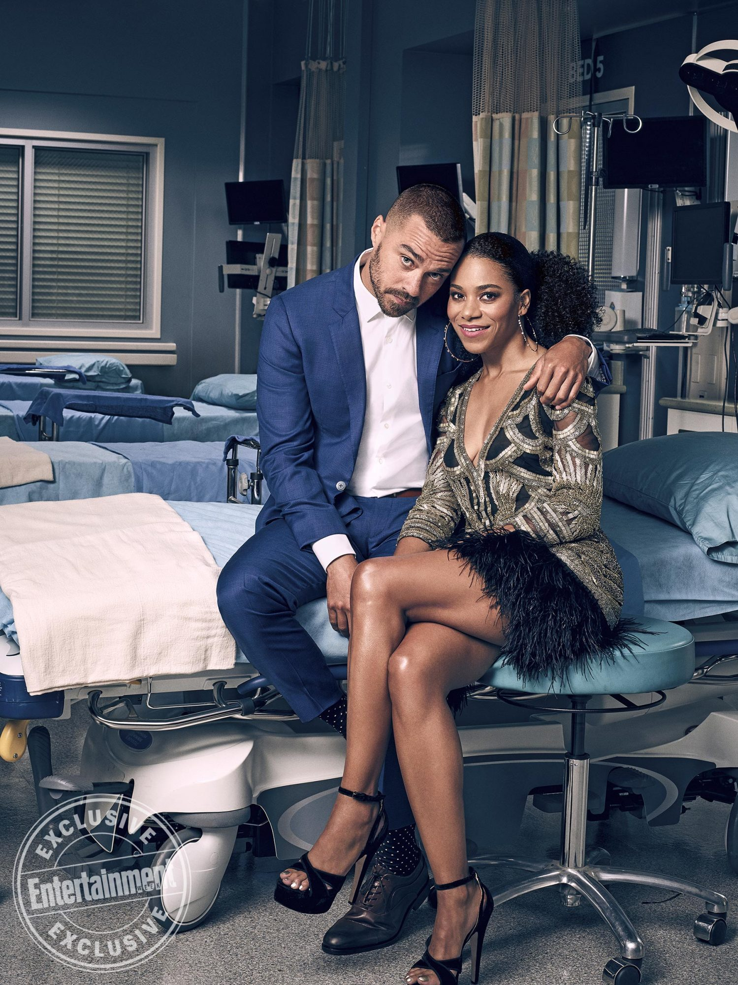 Jesse Williams (Dr. Jackson Avery) and Kelly McCreary (Dr. Maggie Pierce)