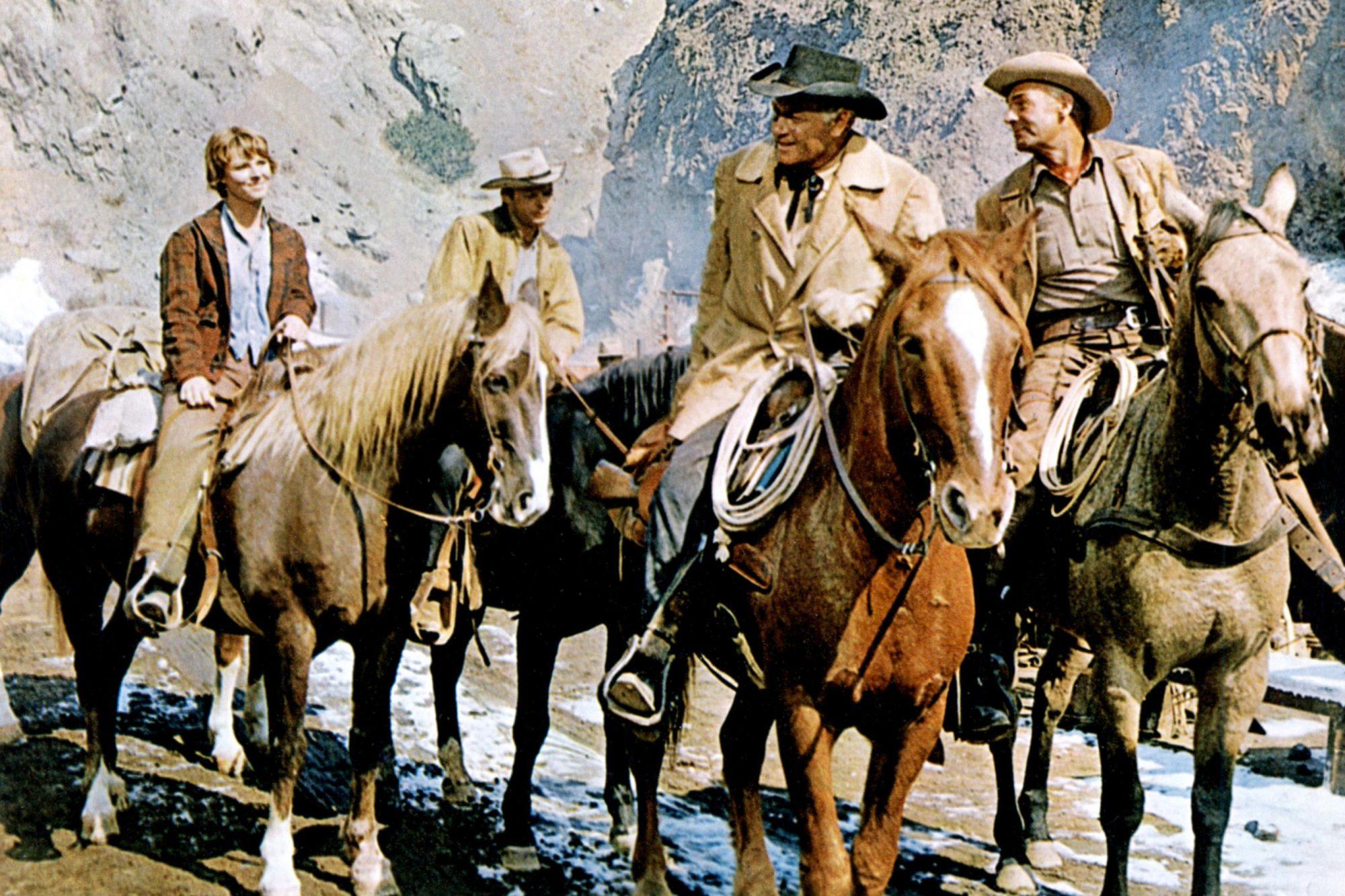 RIDE THE HIGH COUNTRY, Mariette Hartley, Ron Starr, Joel McCrea, Randolph Scott, 1962