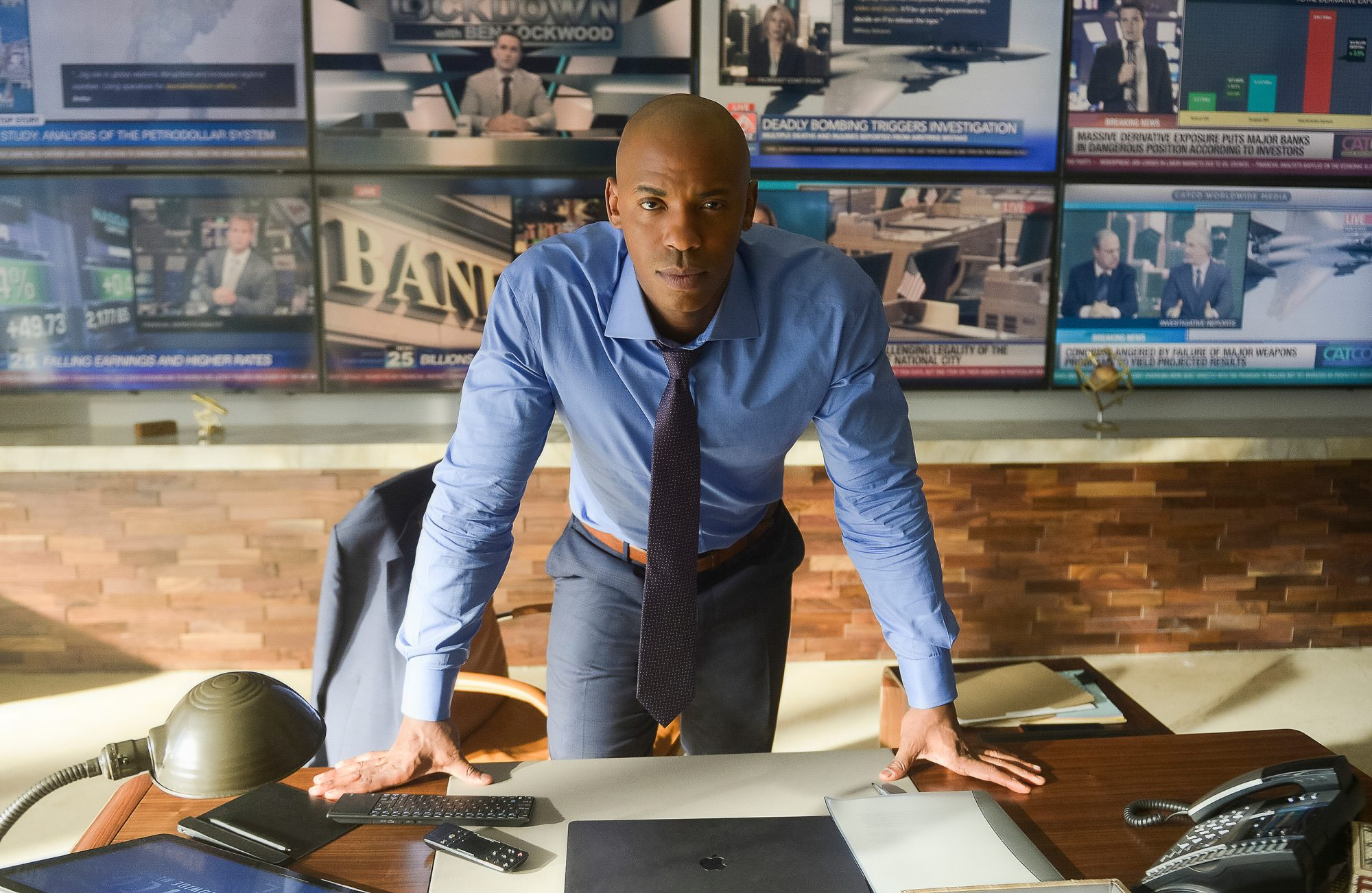 "Supergirl -- ""What's So Funny About Truth, Justice and The American Way?"" -- Image Number: SPG413a_0178b.jpg -- Pictured: Mehcad Brooks as James Olsen/Guardian -- Photo: Sergei Bachlakov/The CW -- © 2019 The CW Network, LLC. All Rights Reserved."