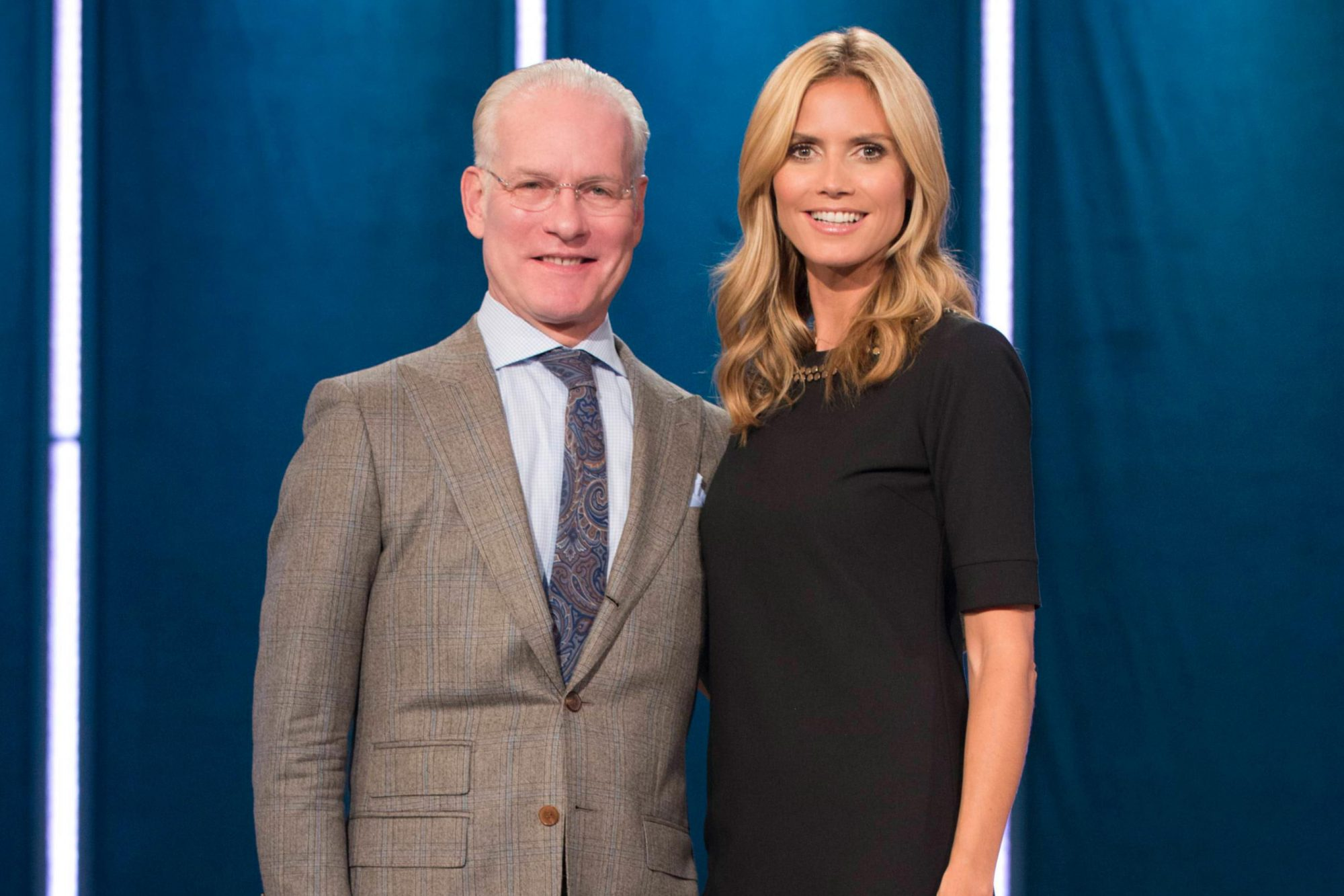 PROJECT RUNWAY, l-r: Tim Gunn, Heidi Klum, 'The Rainway' (Season 13, Episode 8, aired September 11,