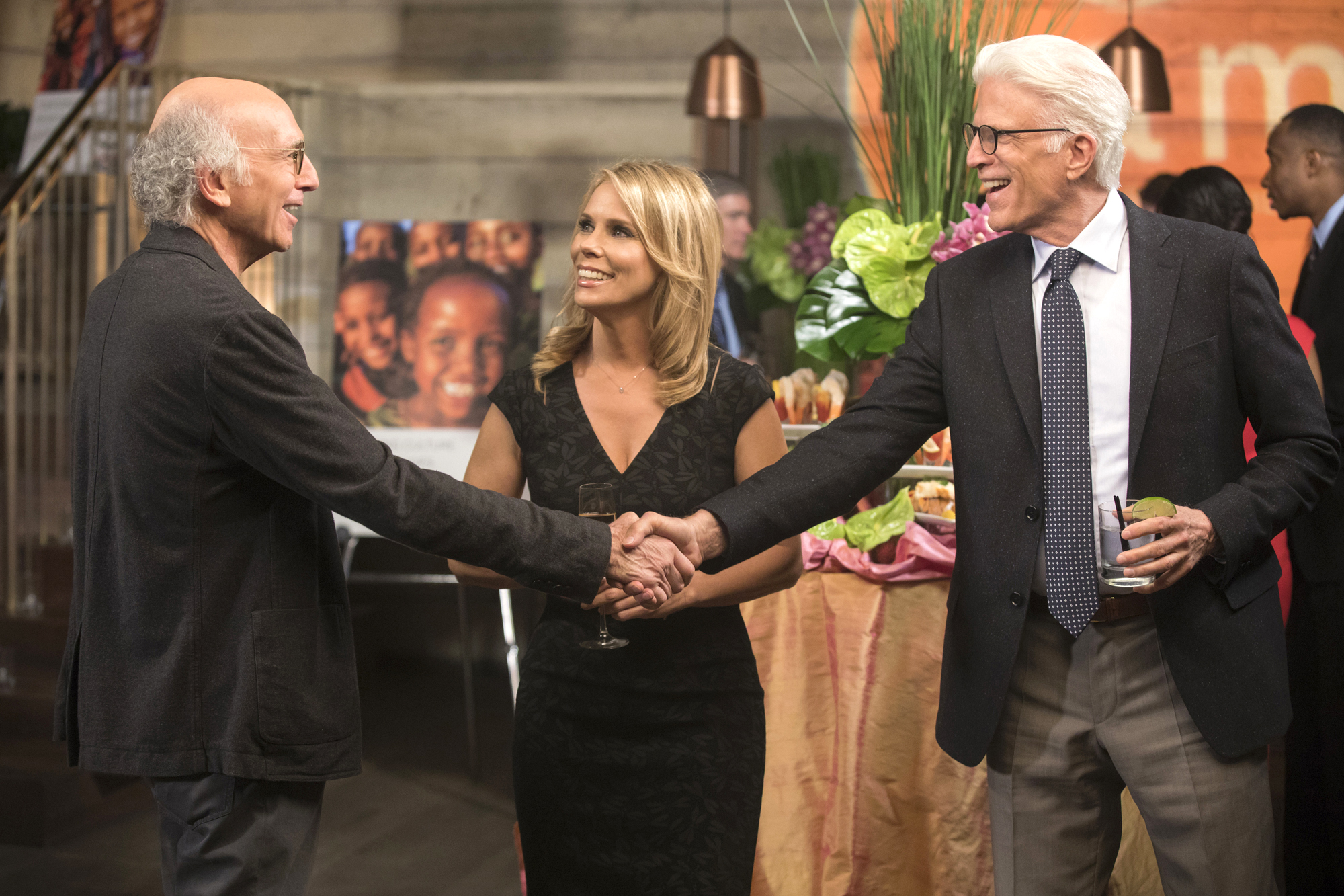 CURB YOUR ENTHUSIASML to R: Larry David, Cheryl Hines, Ted Danson