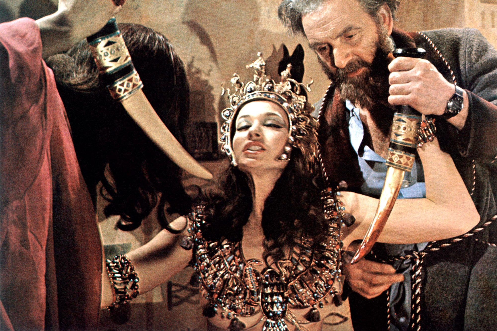 BLOOD FROM THE MUMMY'S TOMB, from left: Valerie Leon, Andrew Keir, 1971