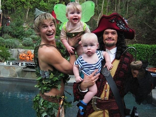 David Burtka as Peter Pan, Harper as Tinker Bell, Gideon as Mr. Smee, and Neil Patrick Harris as Captain Hook