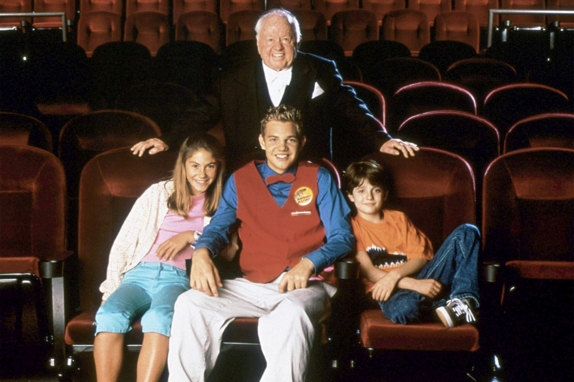 PHANTOM OF THE MEGAPLEX, (top): Mickey Rooney, (bottom from left): Caitlin Wachs, Taylor Handley,