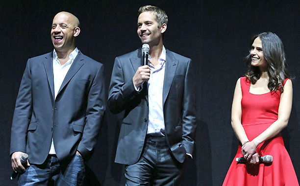 Paul Walker With Vin Diesel and Jordana Brewster at CinemaCon in Las Vegas on April 16, 2013