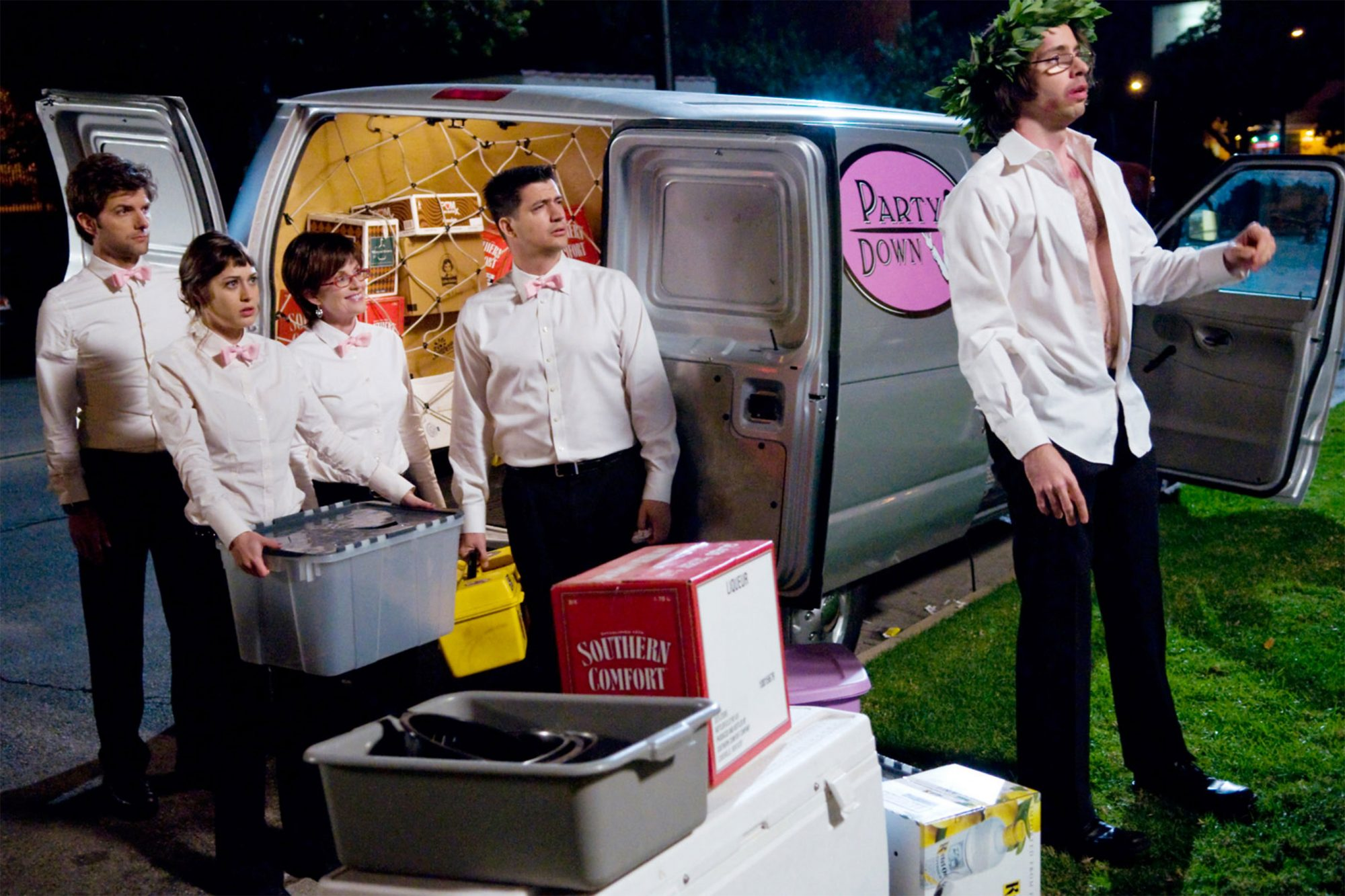 PARTY DOWN, (from left): Adam Scott, Lizzy Caplan, Megan Mullally, Ken Marino, Martin Starr, 'Not On
