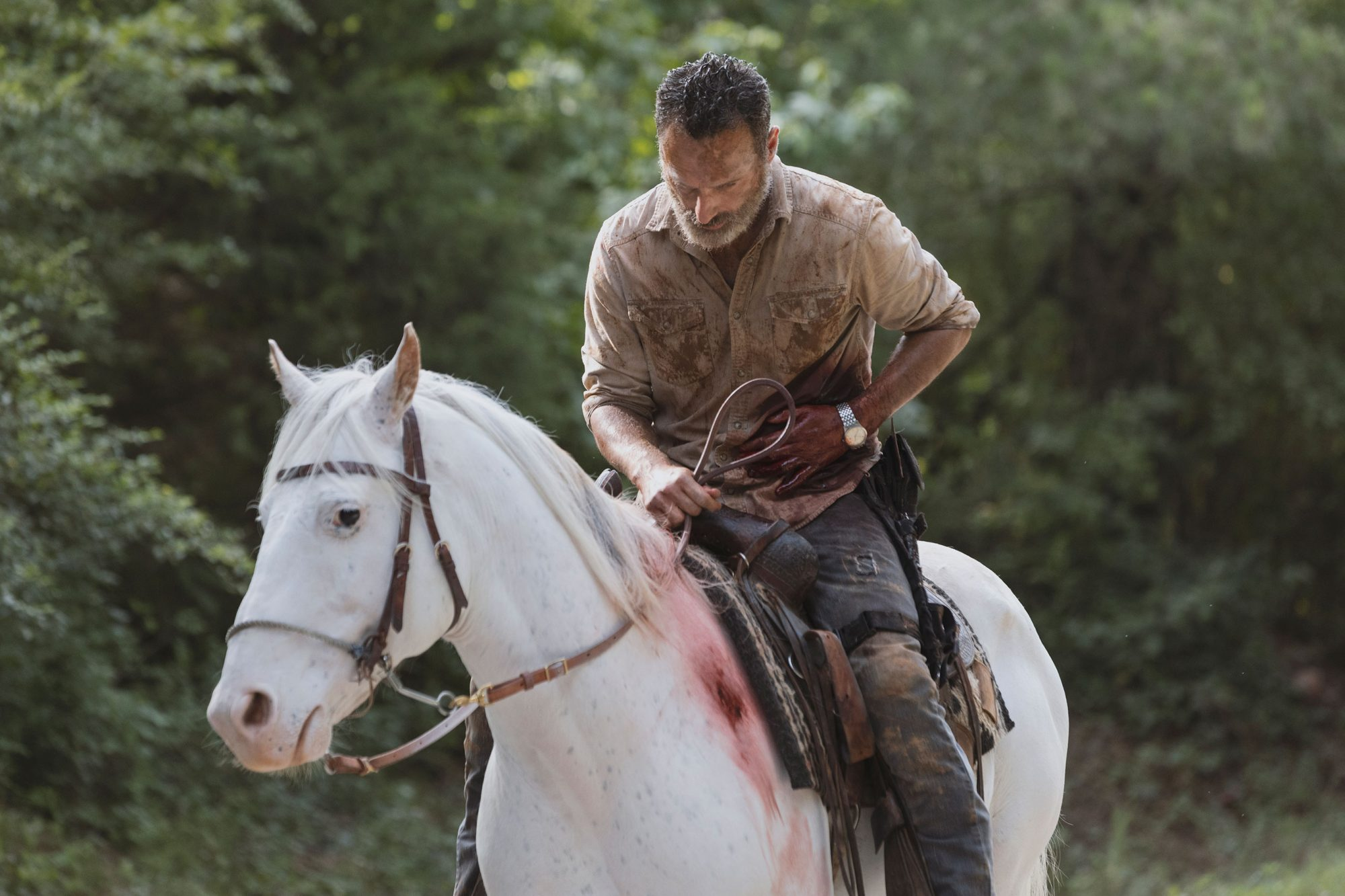 AMC has released a batch of images from Andrew Lincoln's last episode as Rick Grimes. Notice any clues?