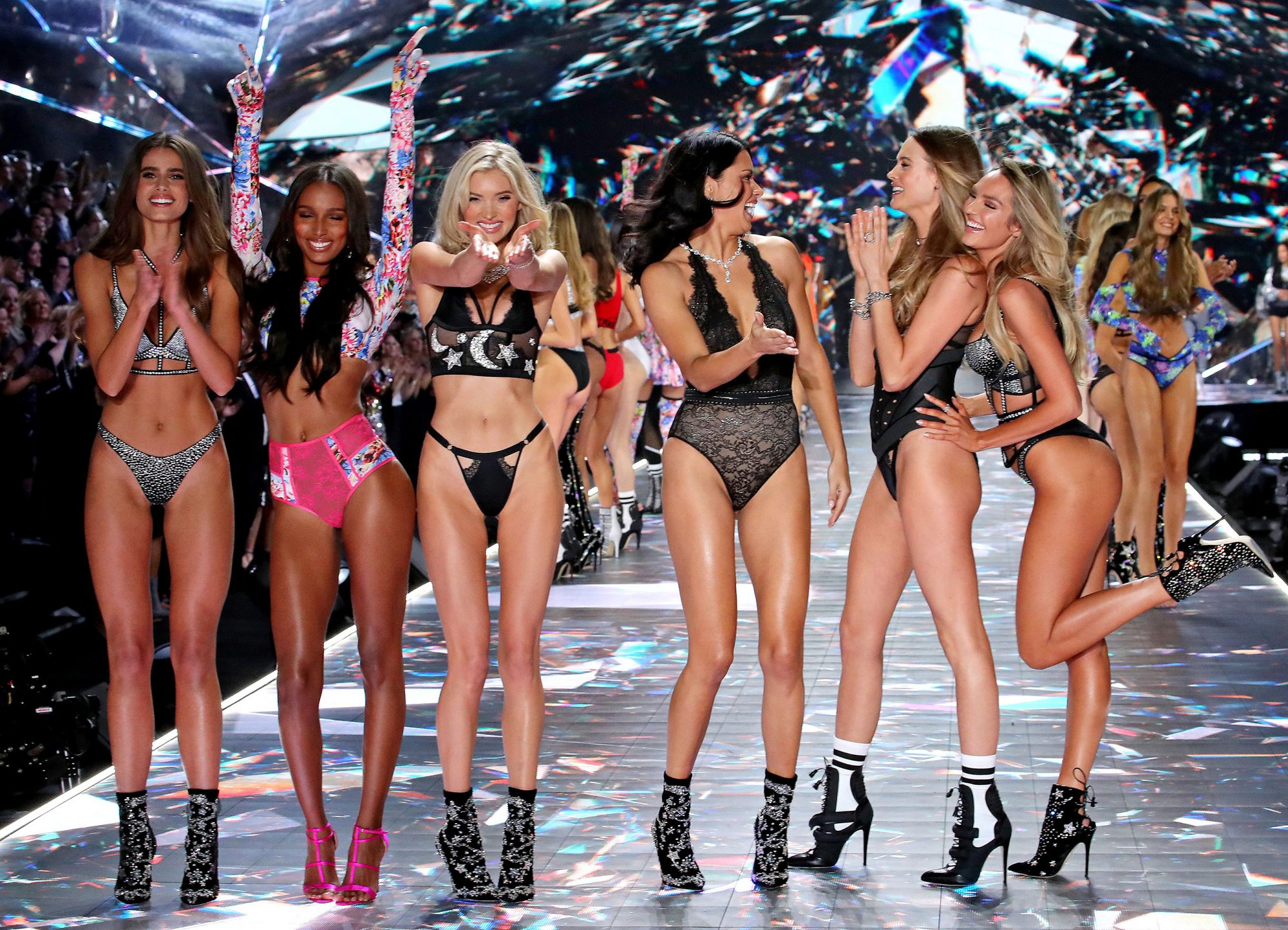 Taylor Hill, Jasmine Tookes, Elsa Hosk, Adriana Lima, and Candice Swanepoel on the catwalk