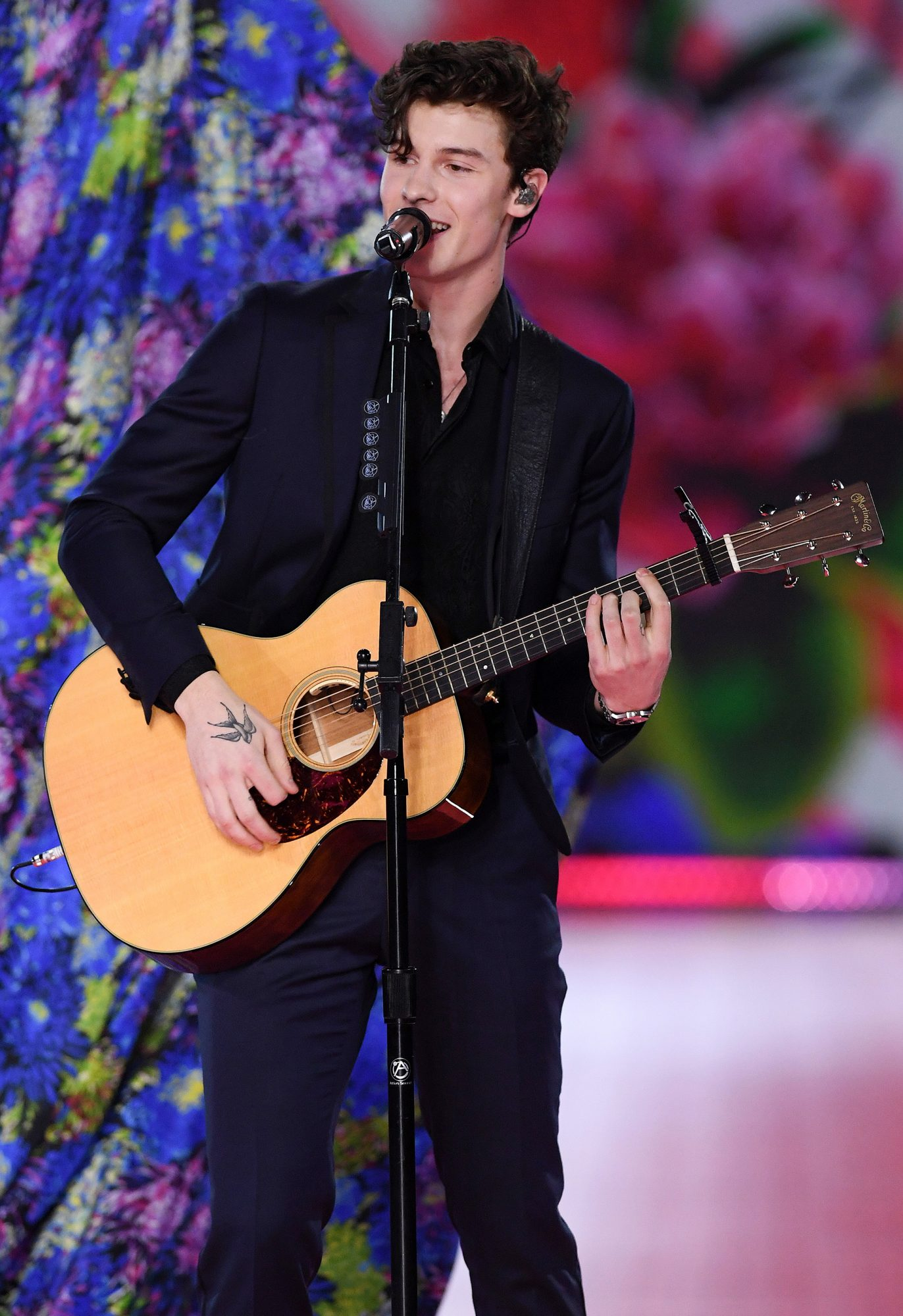 Shawn Mendes performing on the catwalk