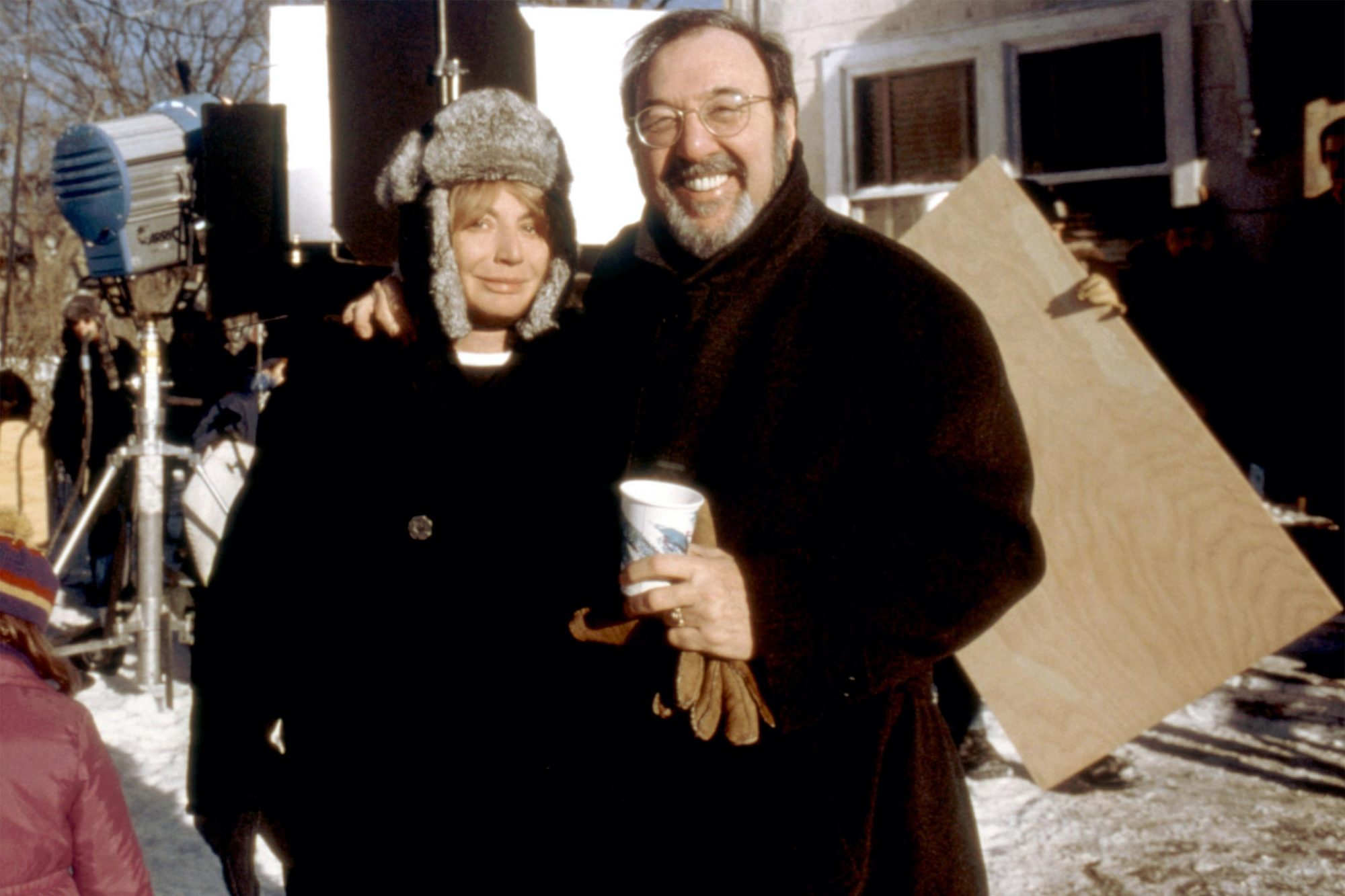 RIDING IN CARS WITH BOYS, director Penny Marshall, producer James L. Brooks, on set, 2001. ©Columbia