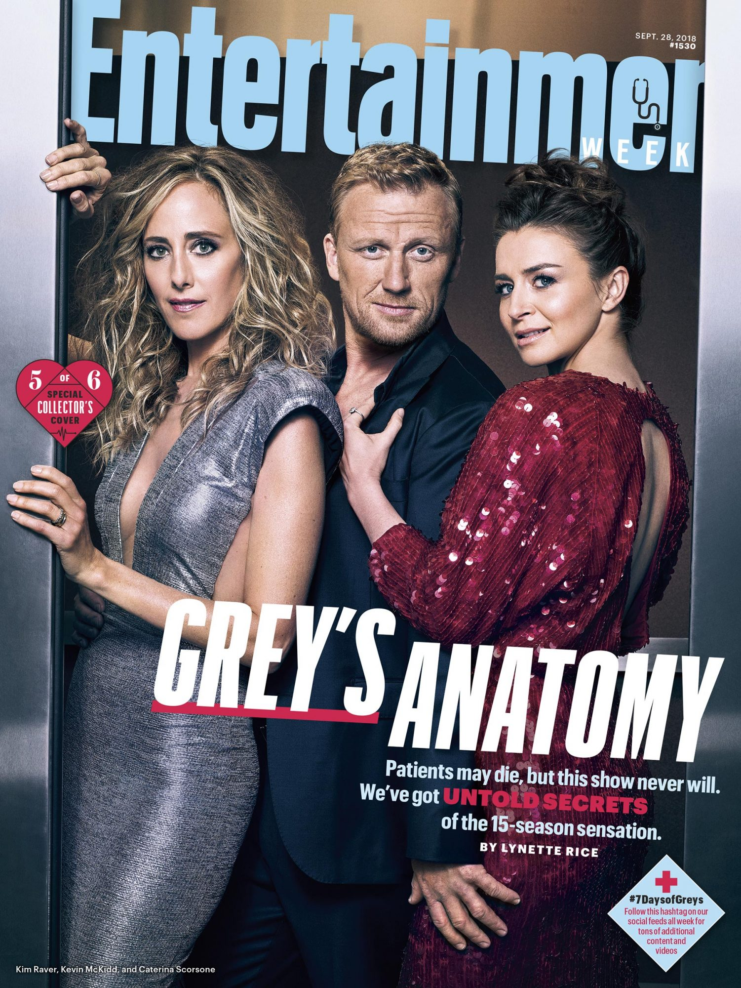 Collector's Cover #5: Kim Raver (Dr. Teddy Altman), Kevin McKidd (Dr. Owen Hunt), and Caterina Scorsone (Dr. Amelia Shepherd)