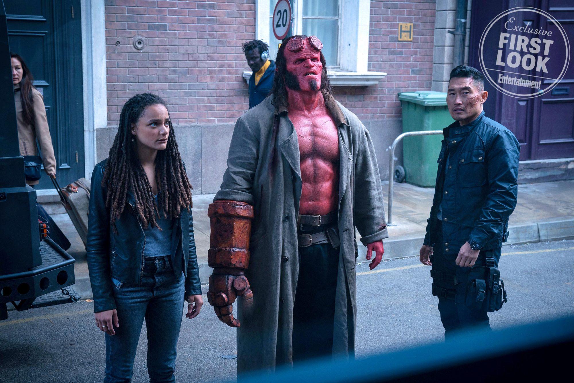 HellboySasha Lane, David Harbour, and Daniel Dae Kim
