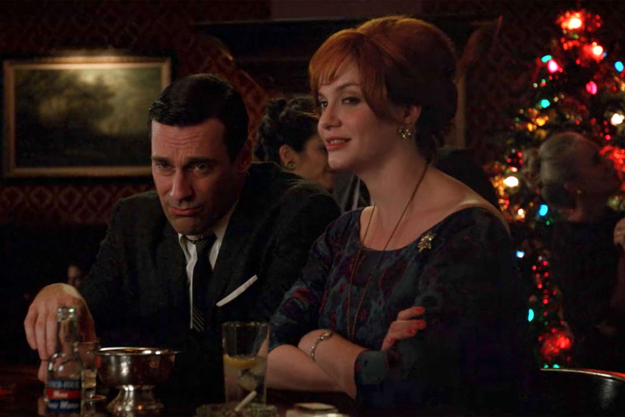 MAD-MEN-—-Christmas-Waltz-(s5e10)Don-and-Joan-in-bar