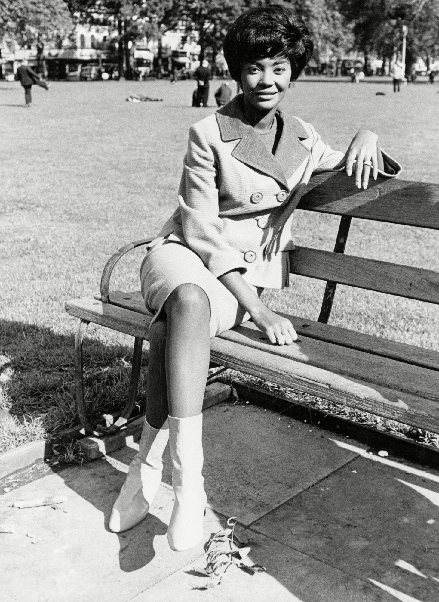 Nancy Wilson Jazz Singer On Park Bench 1965.