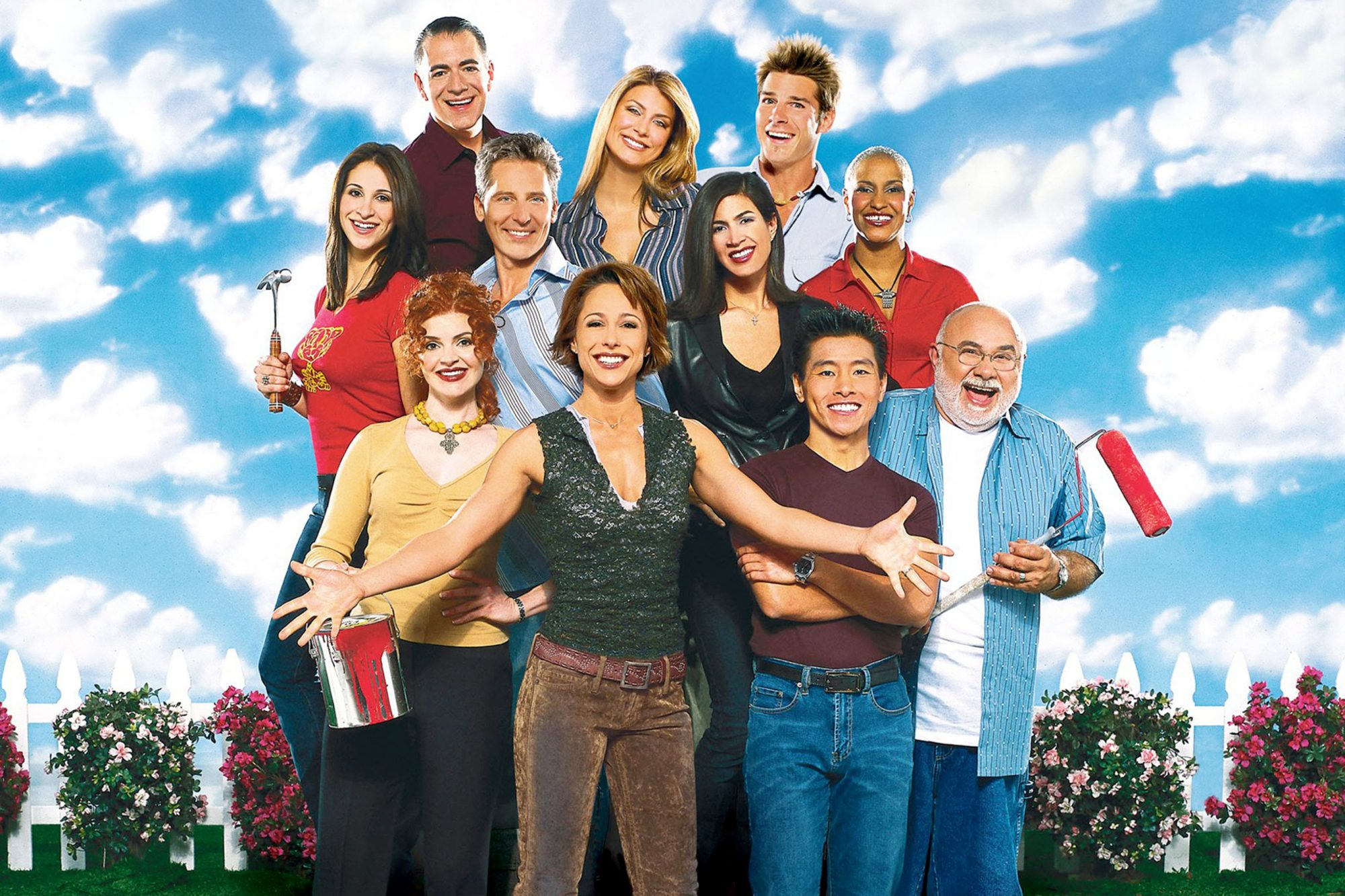 TRADING SPACES, (top): Edward Walker, Genevieve Gorder, Ty Pennington, (middle): Amy Wynn Pastor, Do