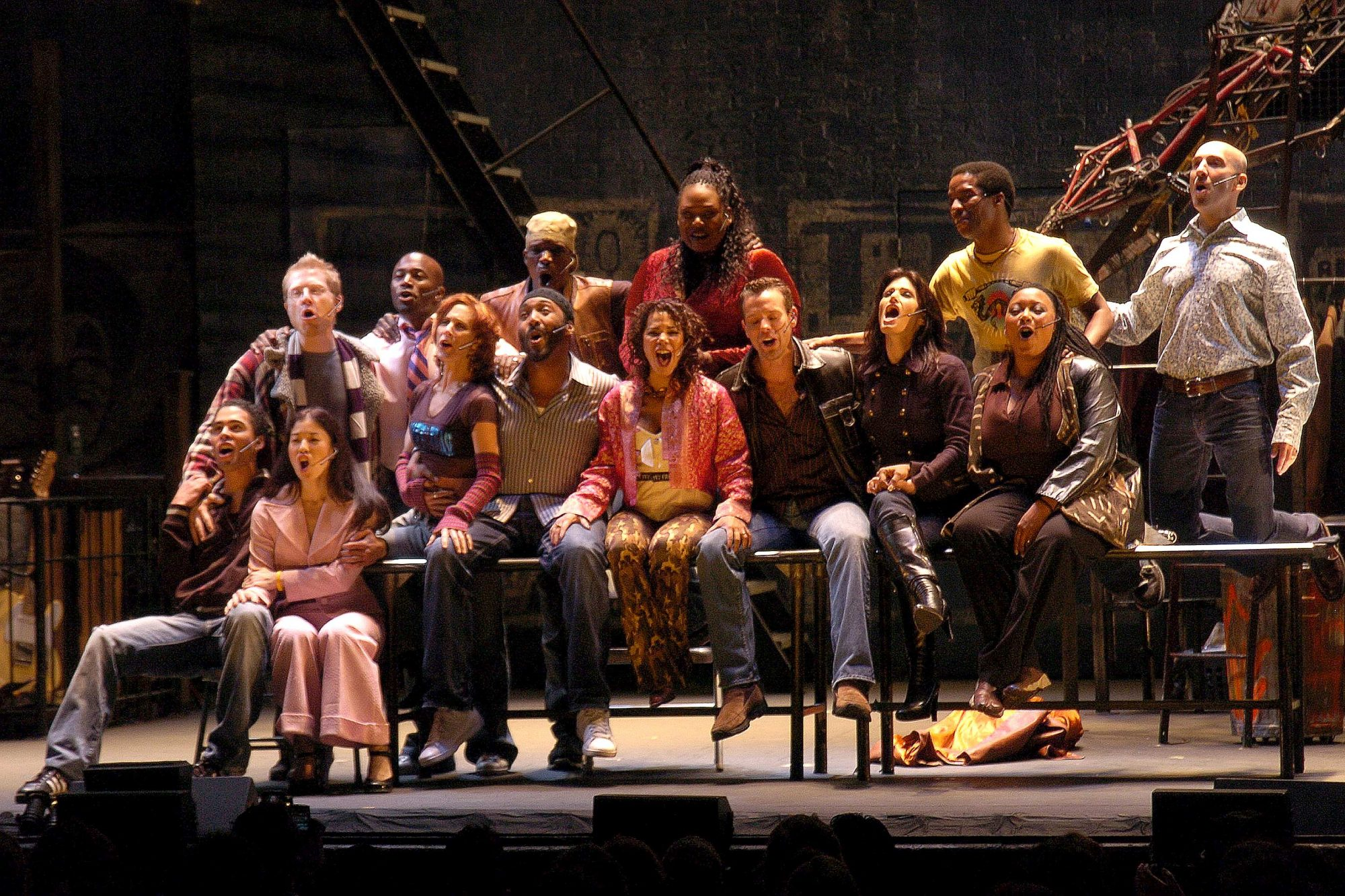 "Original cast members of ""Rent"" get together on stage during"